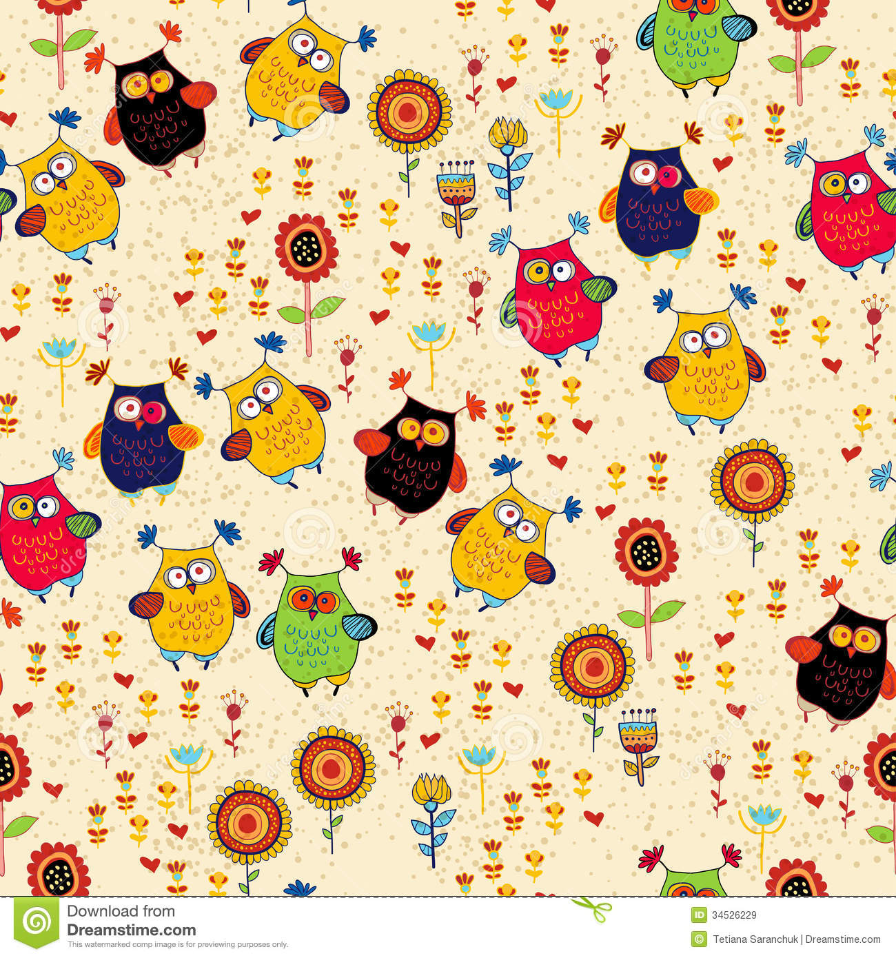 Floral Seamless Pattern With Owl And Bird Stock Vector ...