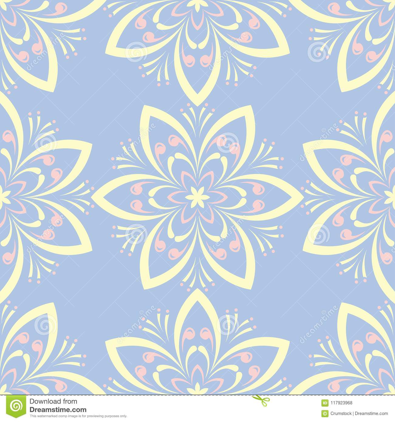Floral Seamless Pattern Pale Blue Background With Beige And Pink