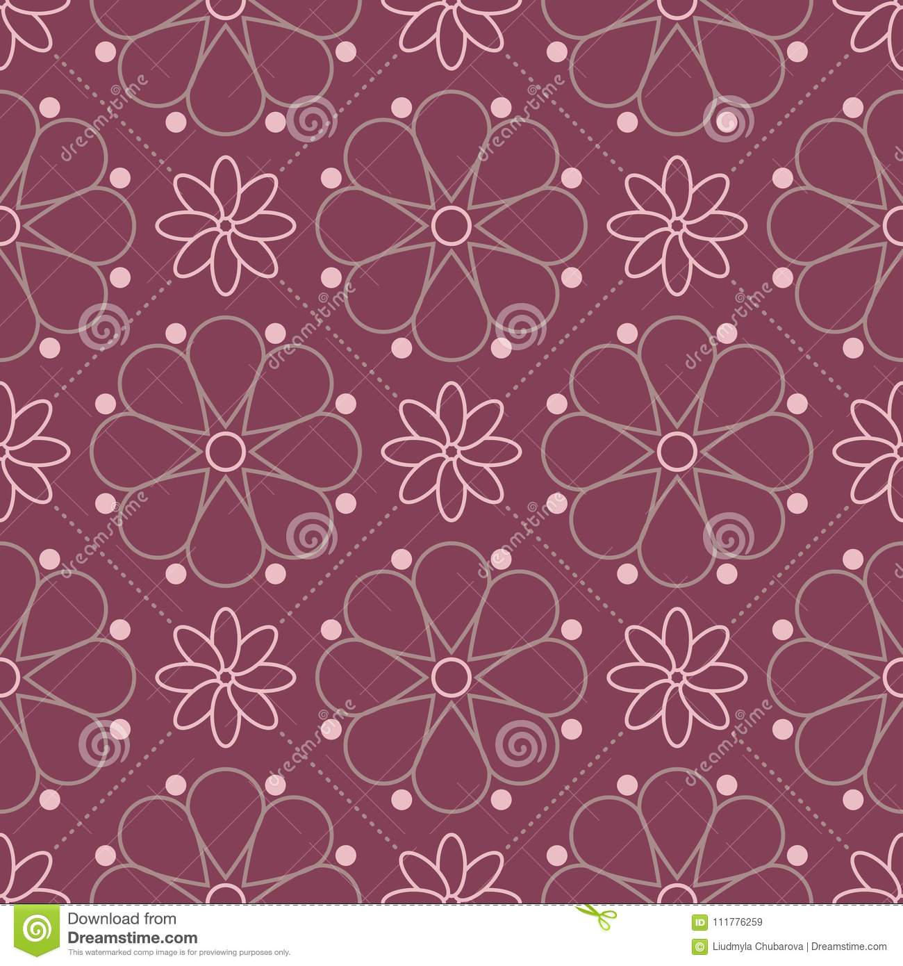 Floral seamless pattern. Purple red background with flower design elements