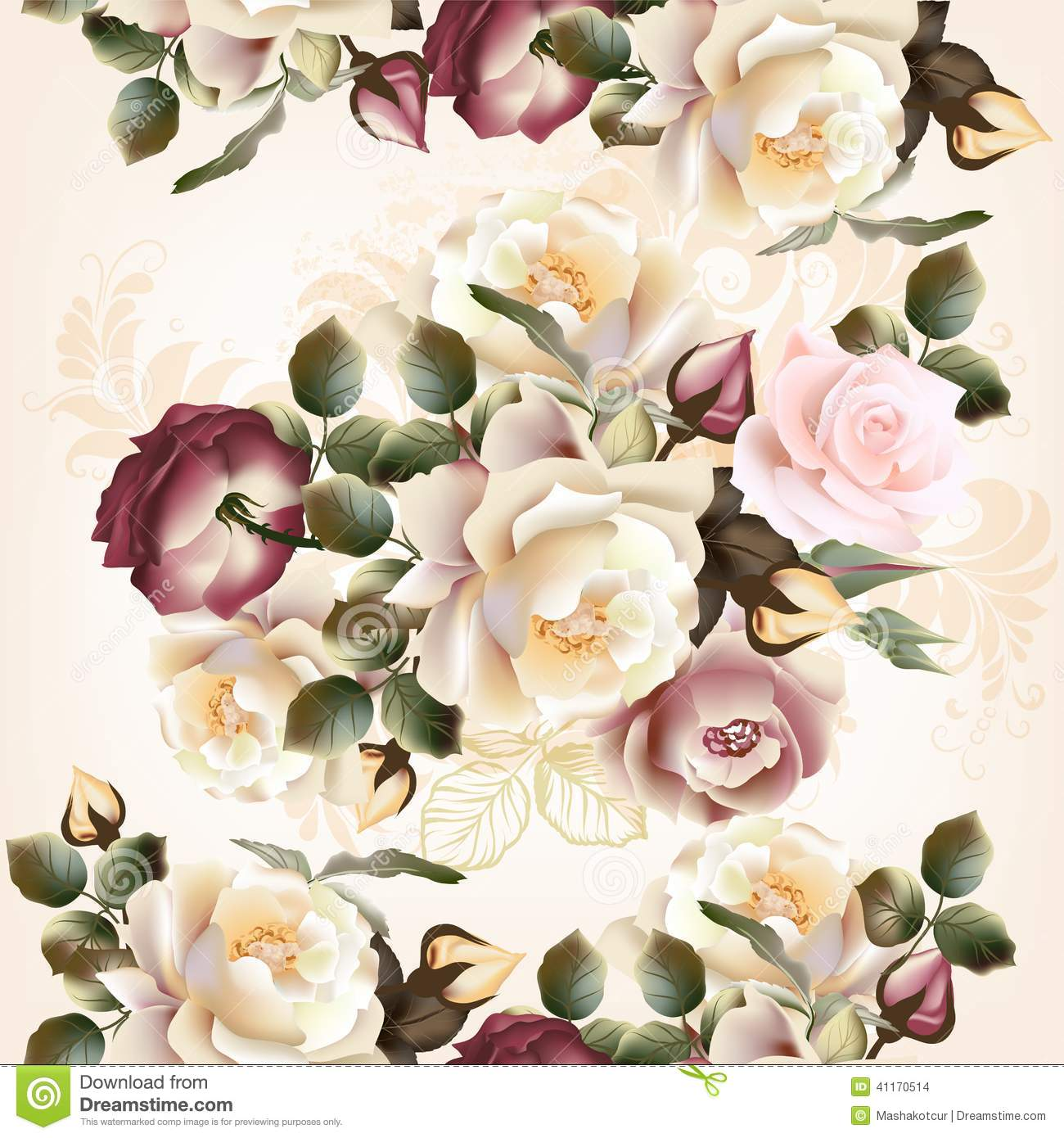 Floral Seamless Pattern With Roses And Flowers In Watercolor St Stock Vector Image 41170514