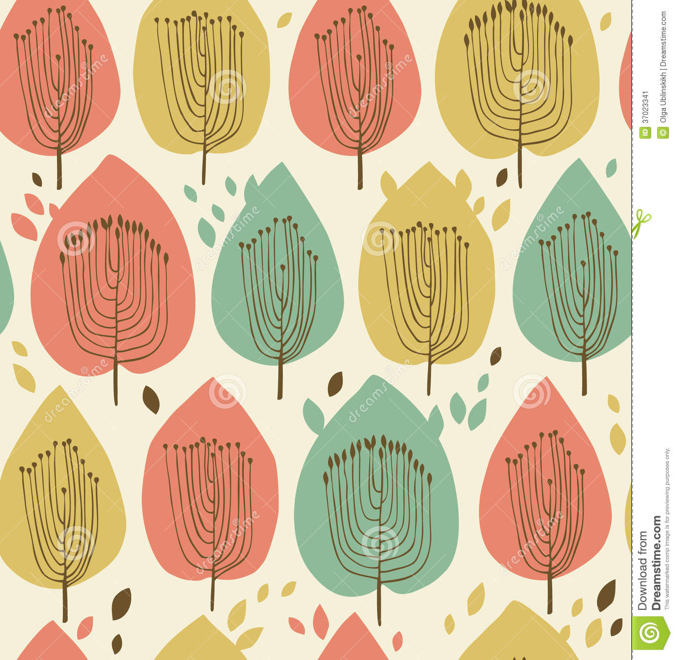 Floral Seamless Pattern In Scandinavian Style Fabric