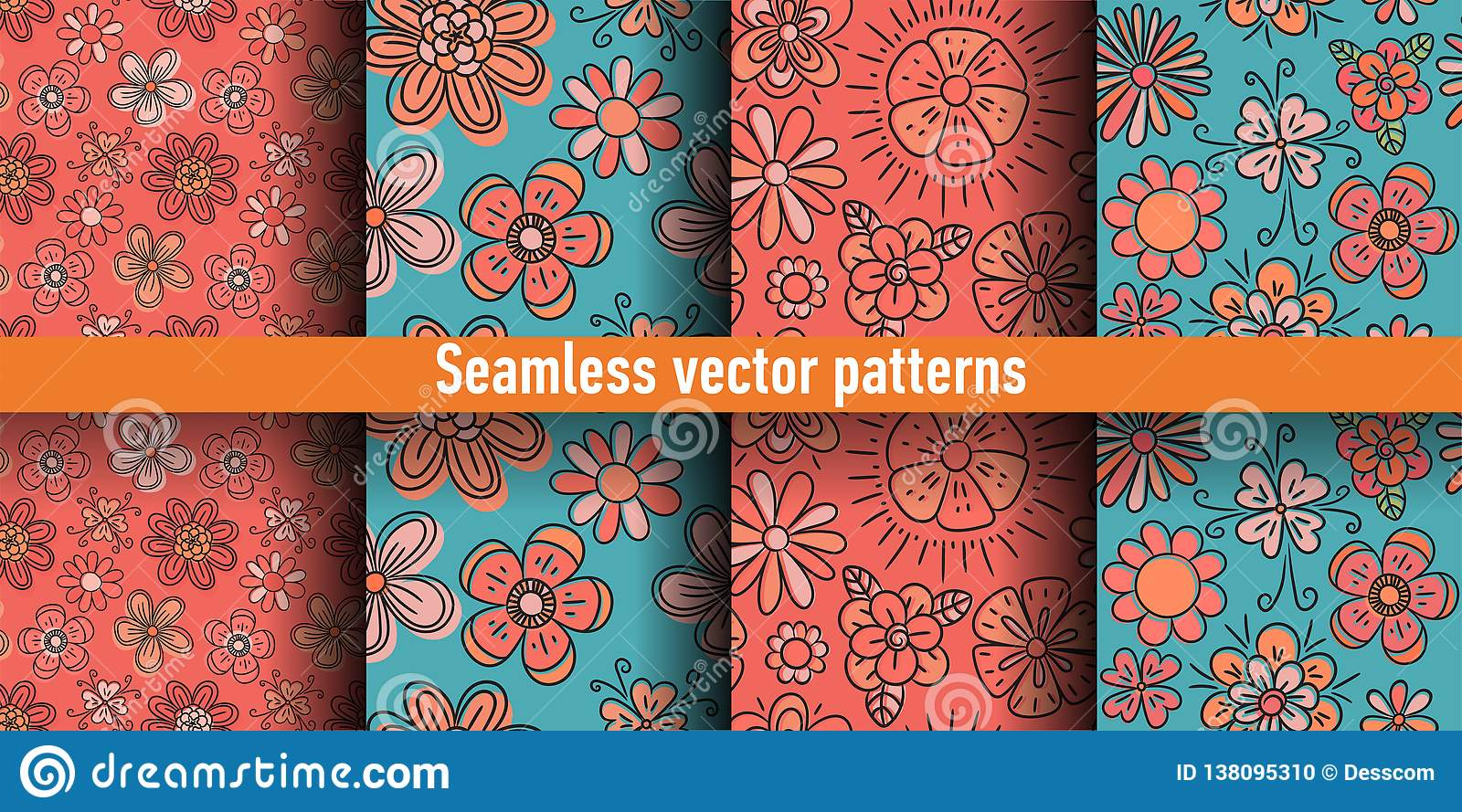 Floral Seamless Pattern Set  Flowers  Color Vector
