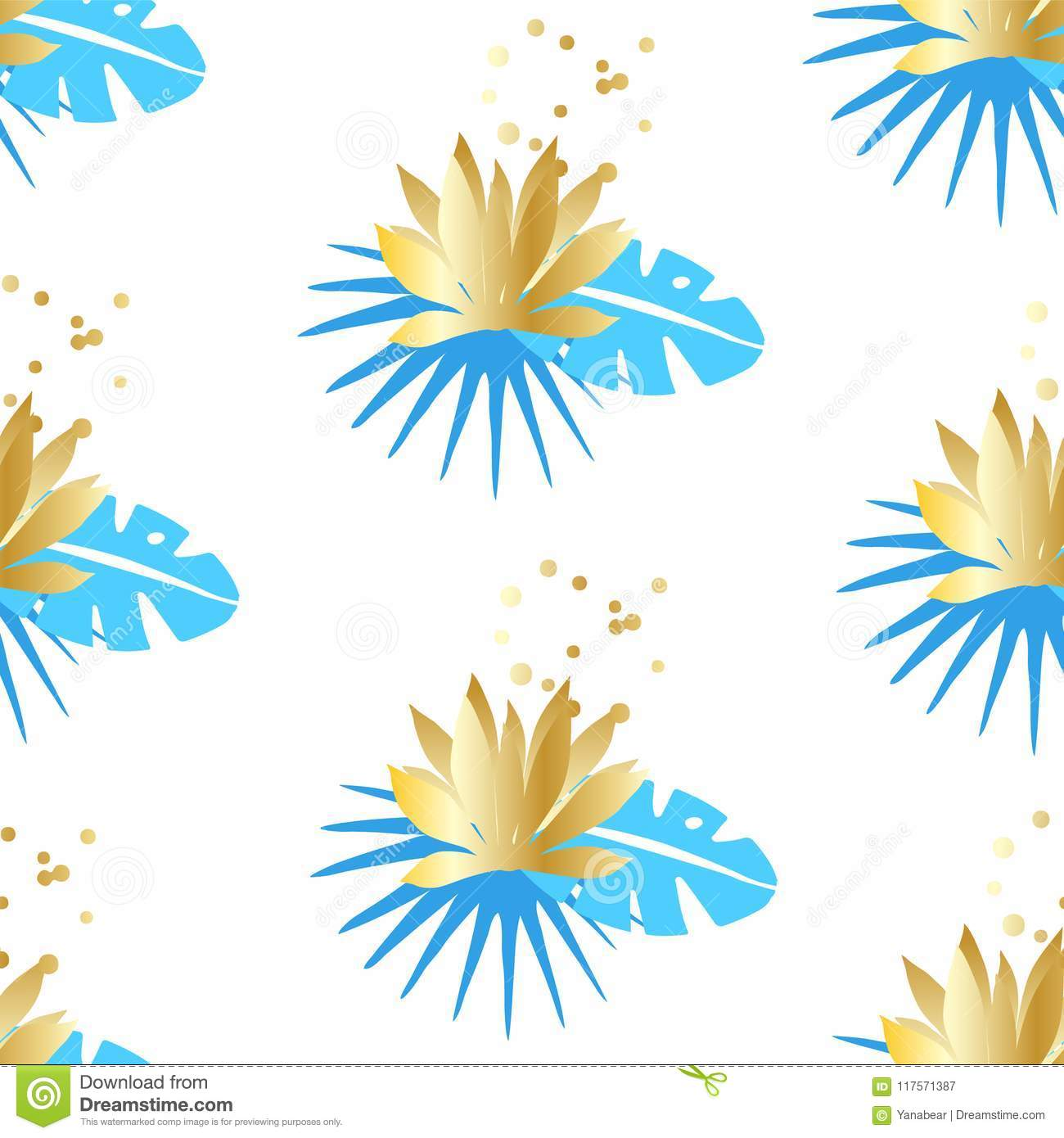Floral seamless pattern with tropical leaves and golden lotuses on a white background. Ornament for textile and wrapping. Vector
