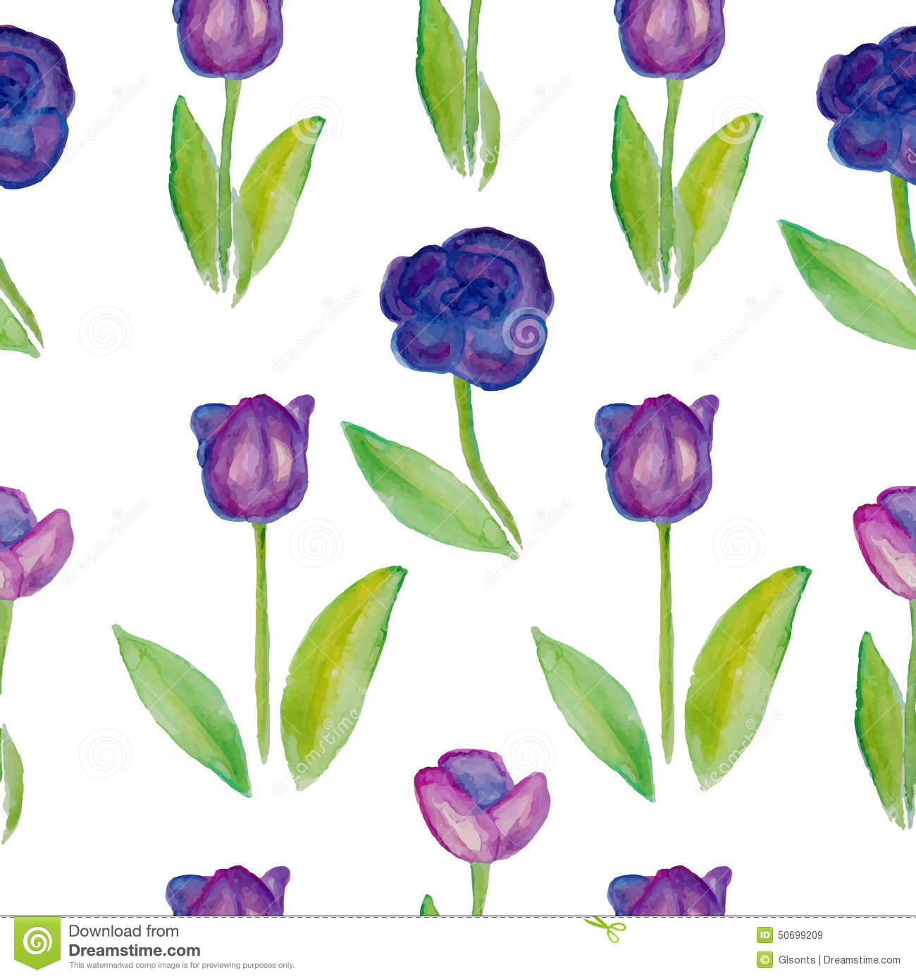 floral seamless pattern tulips  violet flowers with green leafs   stock vector