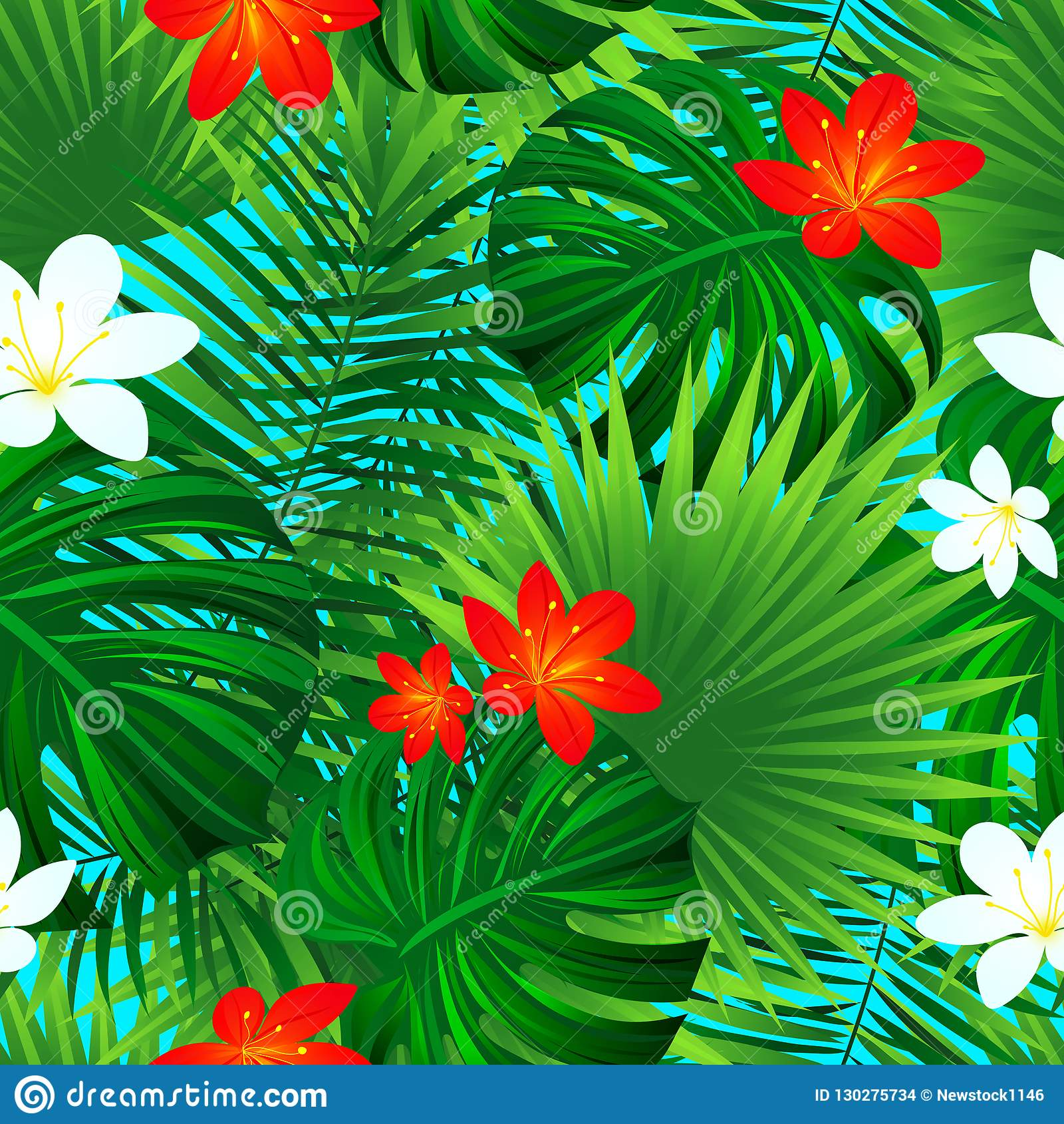 Floral Seamless Pattern Vector Tropical Repeated Texture