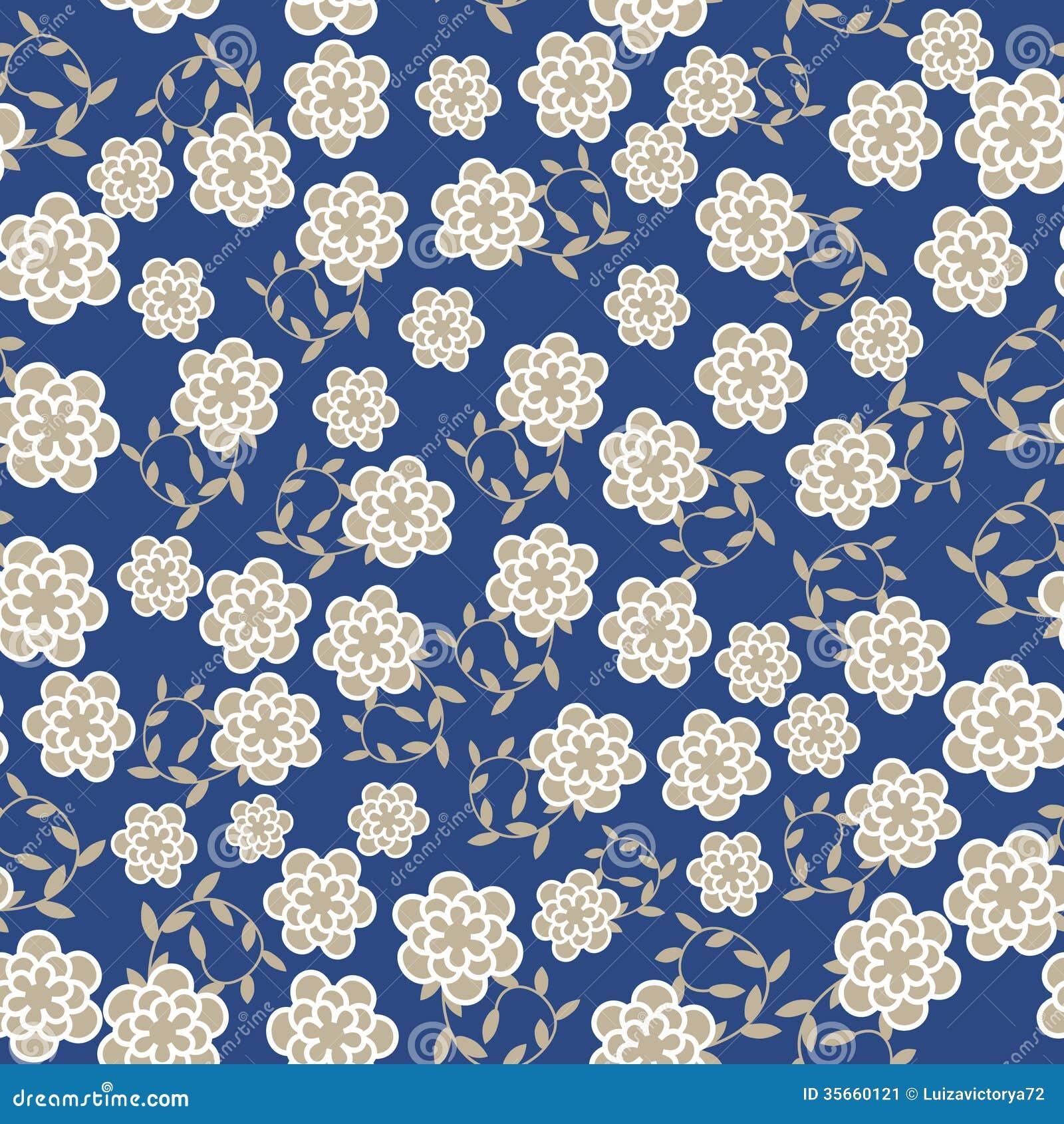 Blue Floral Vintage Wallpaper Floral vector seamless pattern