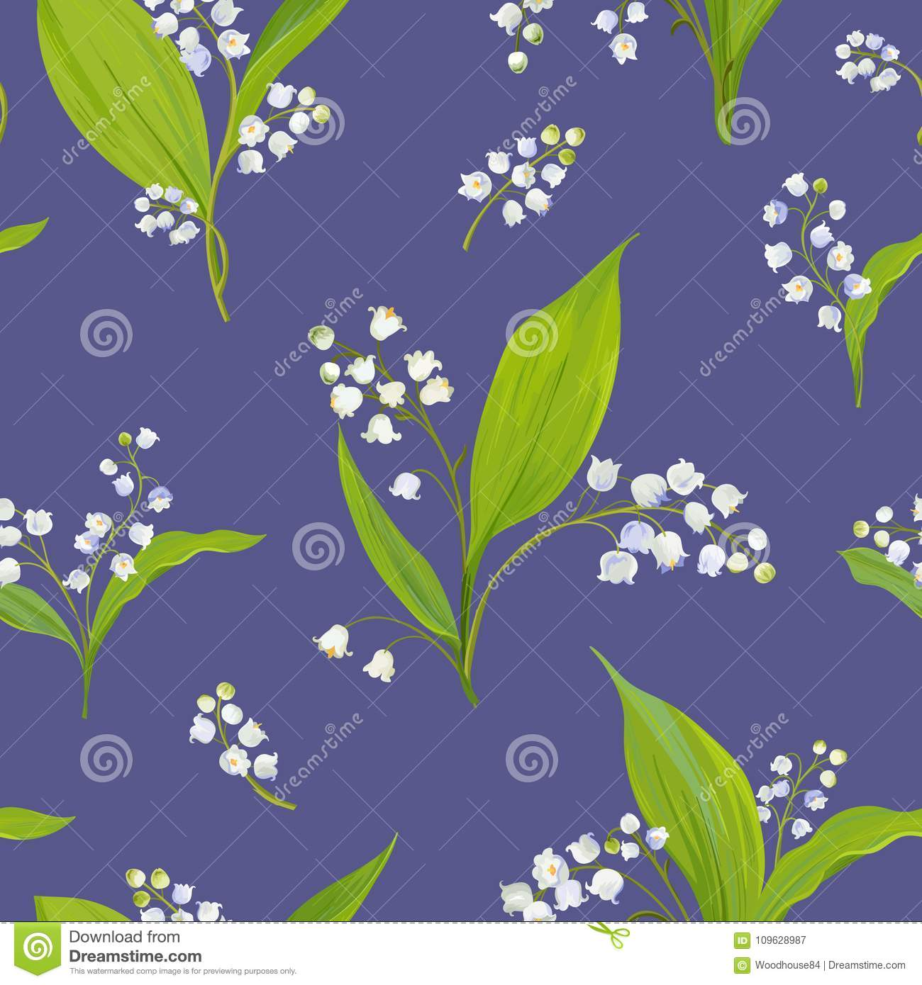 Floral Seamless Pattern With Watercolor Lily Of The Valley Spring