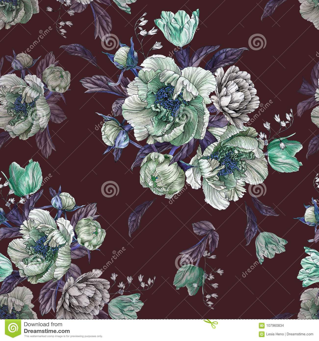 Flower seamless pattern with watercolor peonies, white roses and tulips