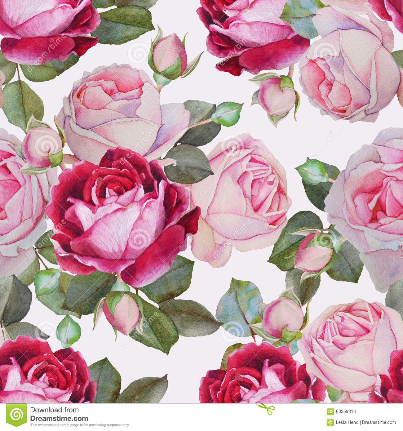 Floral Seamless Pattern With Watercolor Pink And Purple Roses Stock