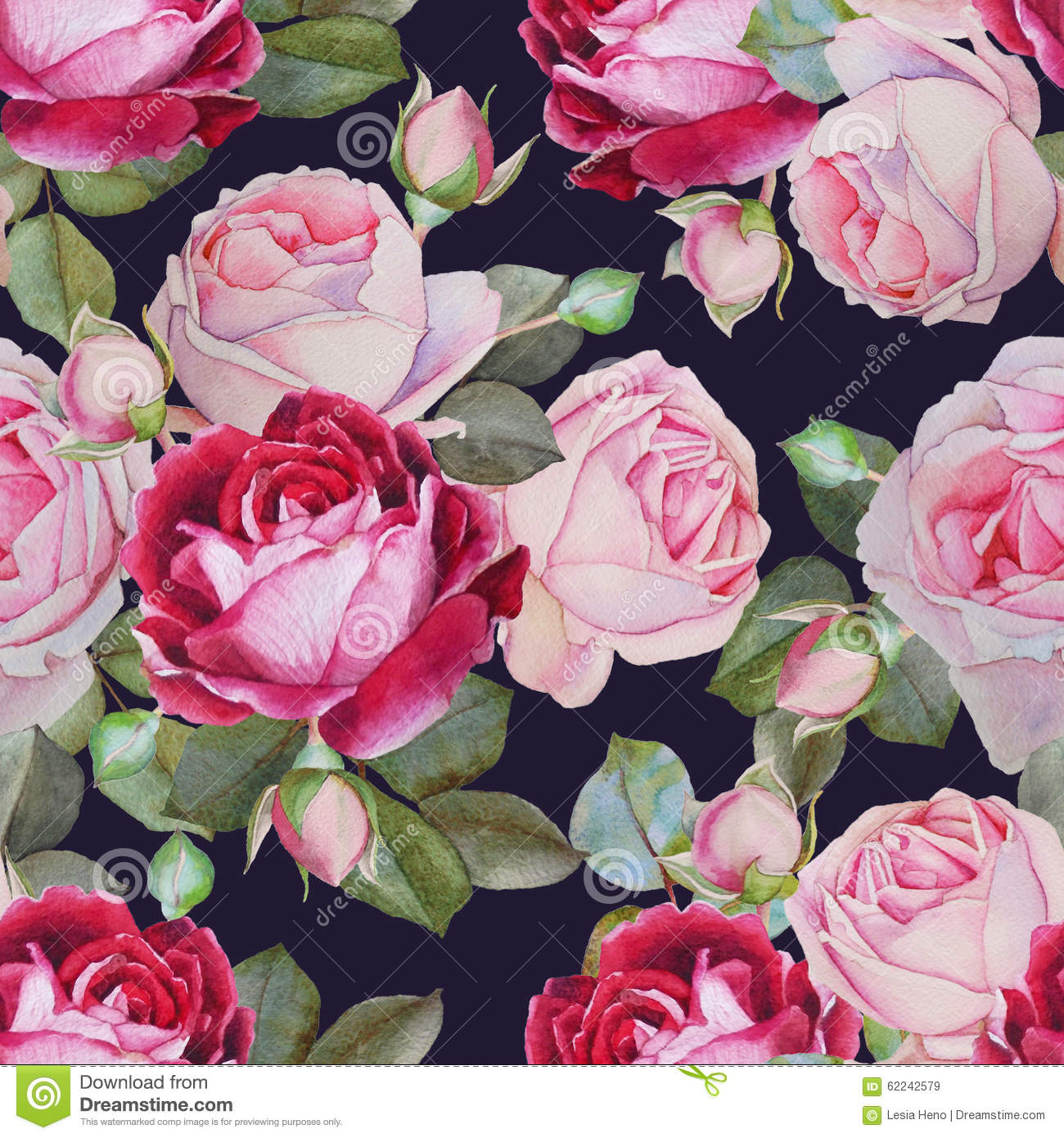 floral seamless pattern with watercolor roses stock
