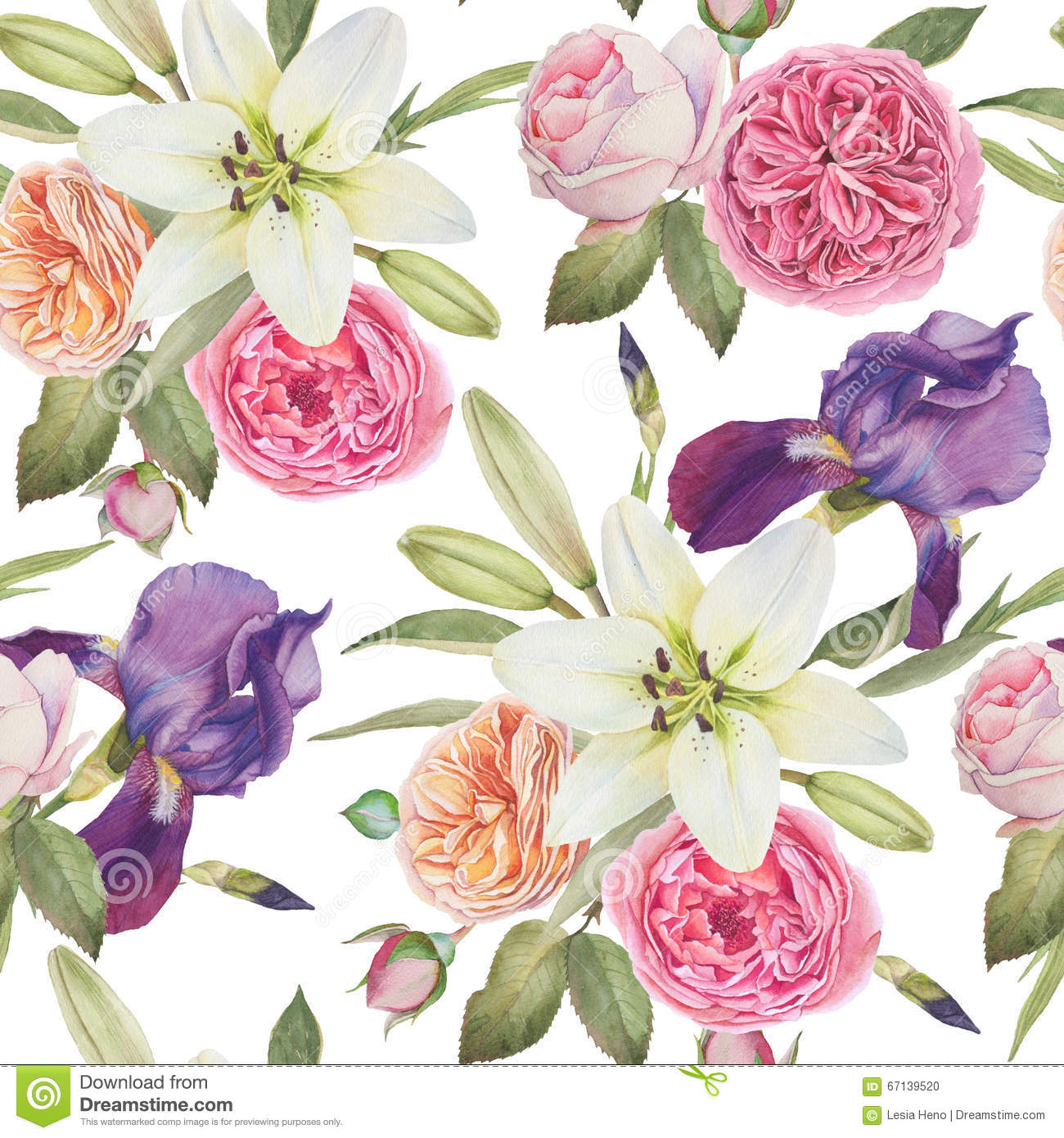 Floral Seamless Pattern With Watercolor Violet Iris, White ...