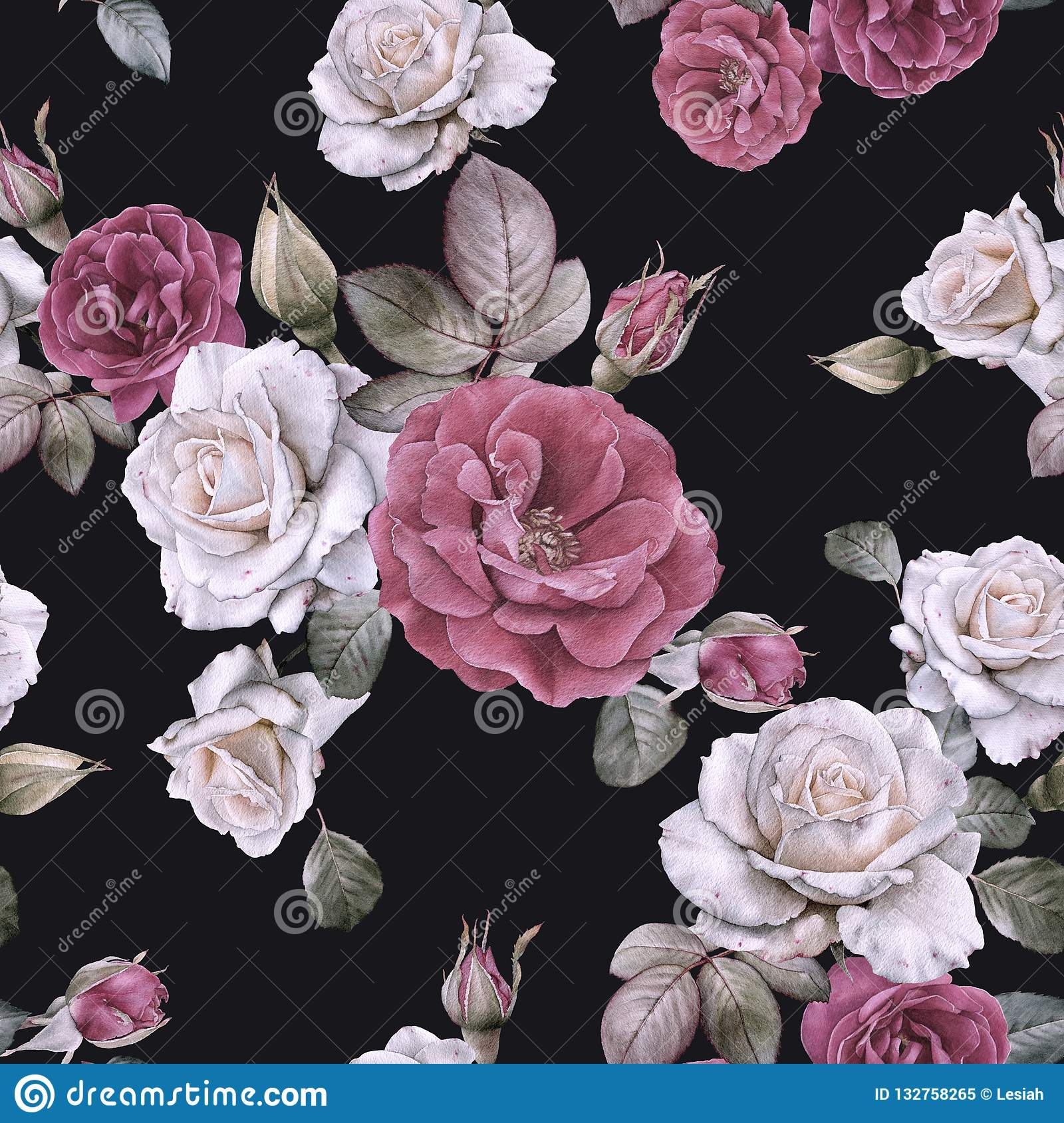 Floral Seamless Pattern With Watercolor White And Red Roses Stock
