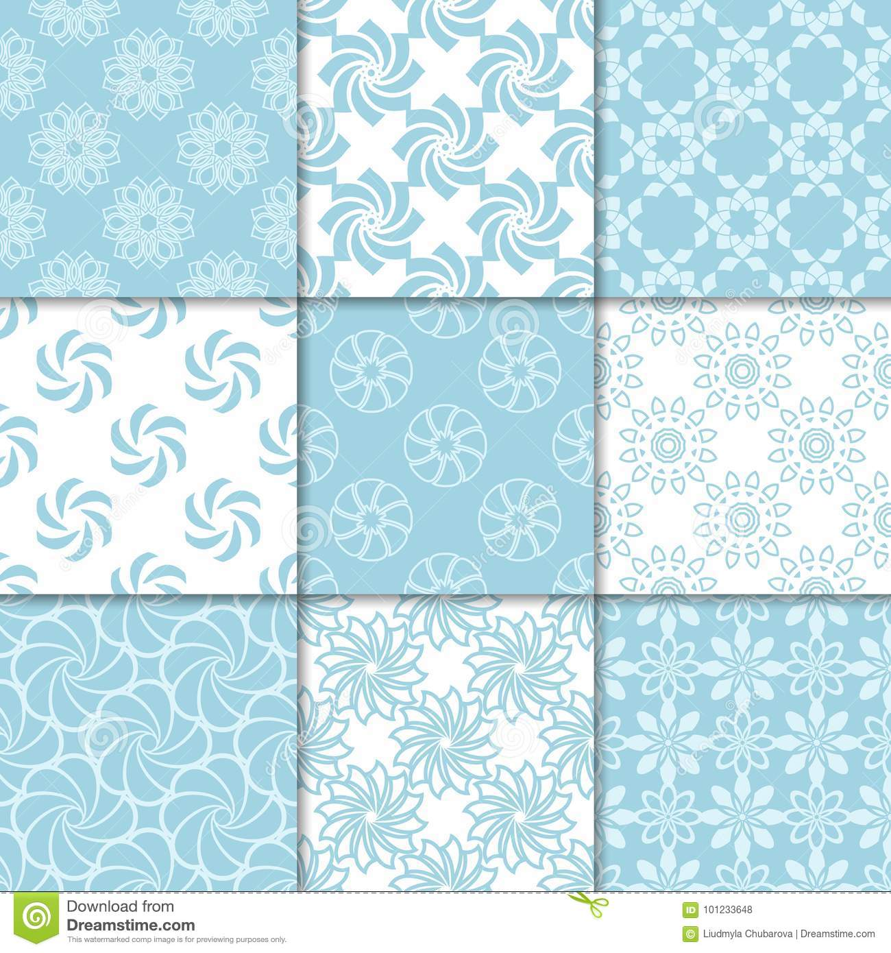 Floral Seamless Patterns Set Of Blue Wallpaper Backgrounds Stock
