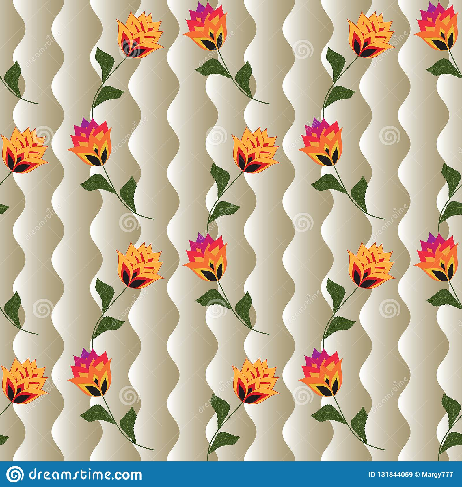 Floral Seamless Vector Background For The Design Of ...