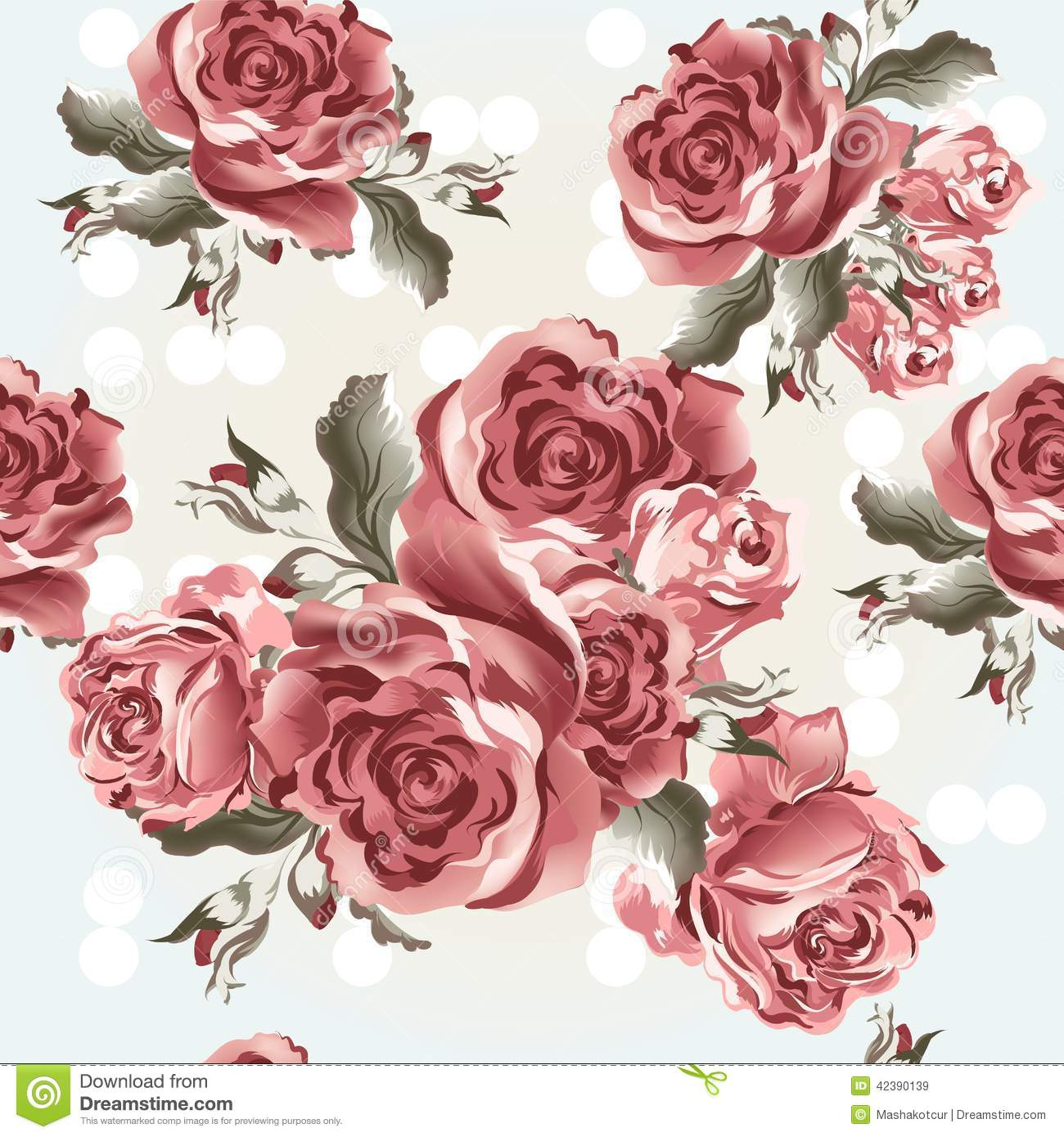 Classic Wallpaper Seamless Vintage Flower Pattern On Green