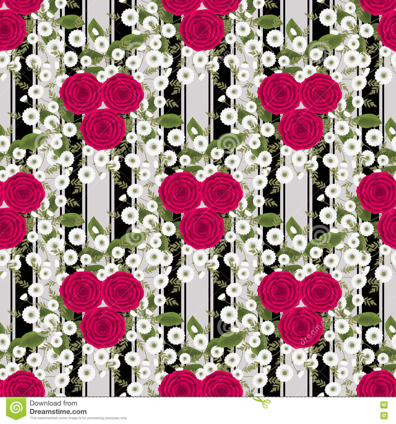 Floral Seamless Vintage Pattern Stylized Silhouettes Of