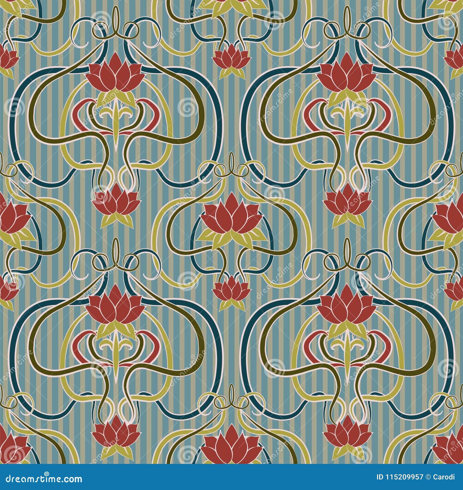 Art Nouveau Carta Da Parati Art Deco.Floral Seamless Wallpaper In Art Nouveau Style Vector Stock