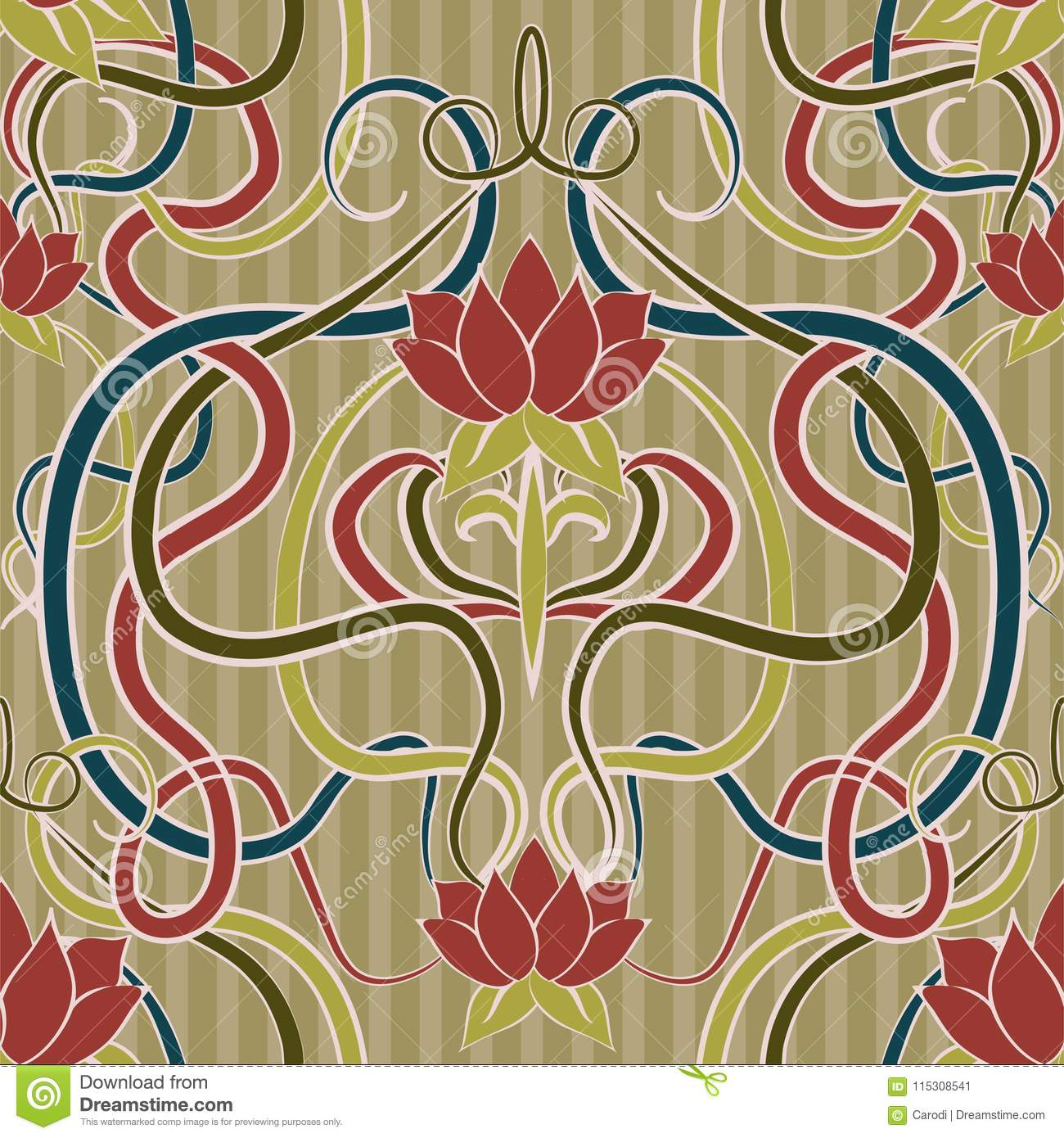 Floral Seamless Wallpaper In Art Nouveau Style Vector Stock