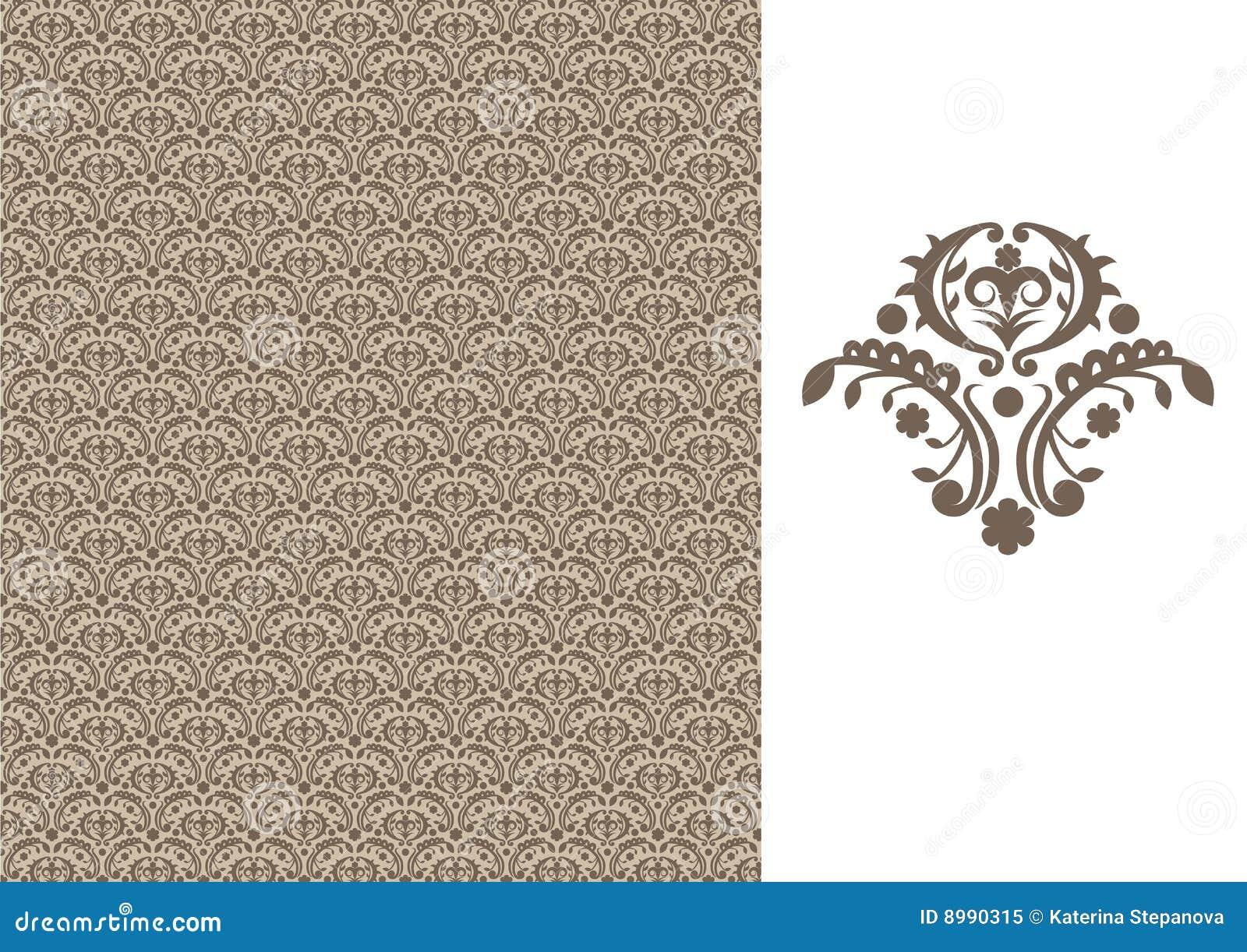 Floral seamless wallpaper-brown