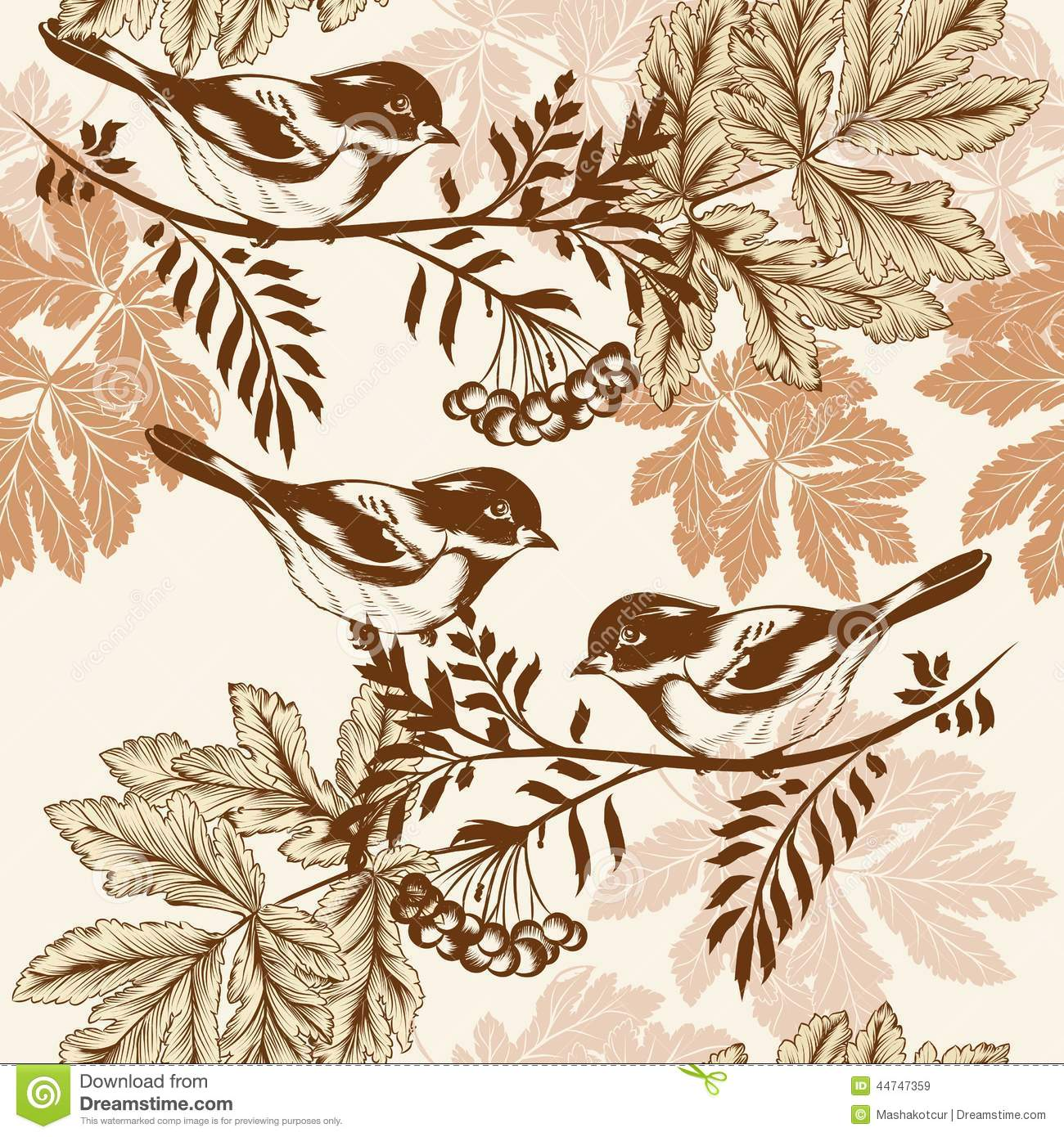 Wallpaper With Birds seamless wallpaper with birds stock photography - image: 10197812