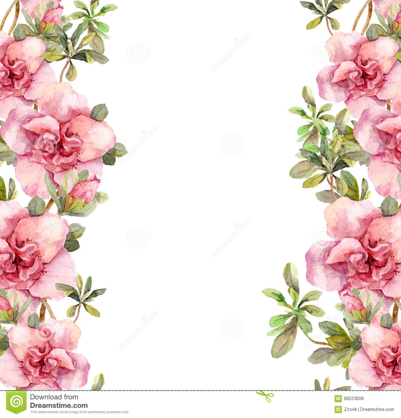 Floral Seamless Watercolor Frame Border With Pink Flowers Aquarel