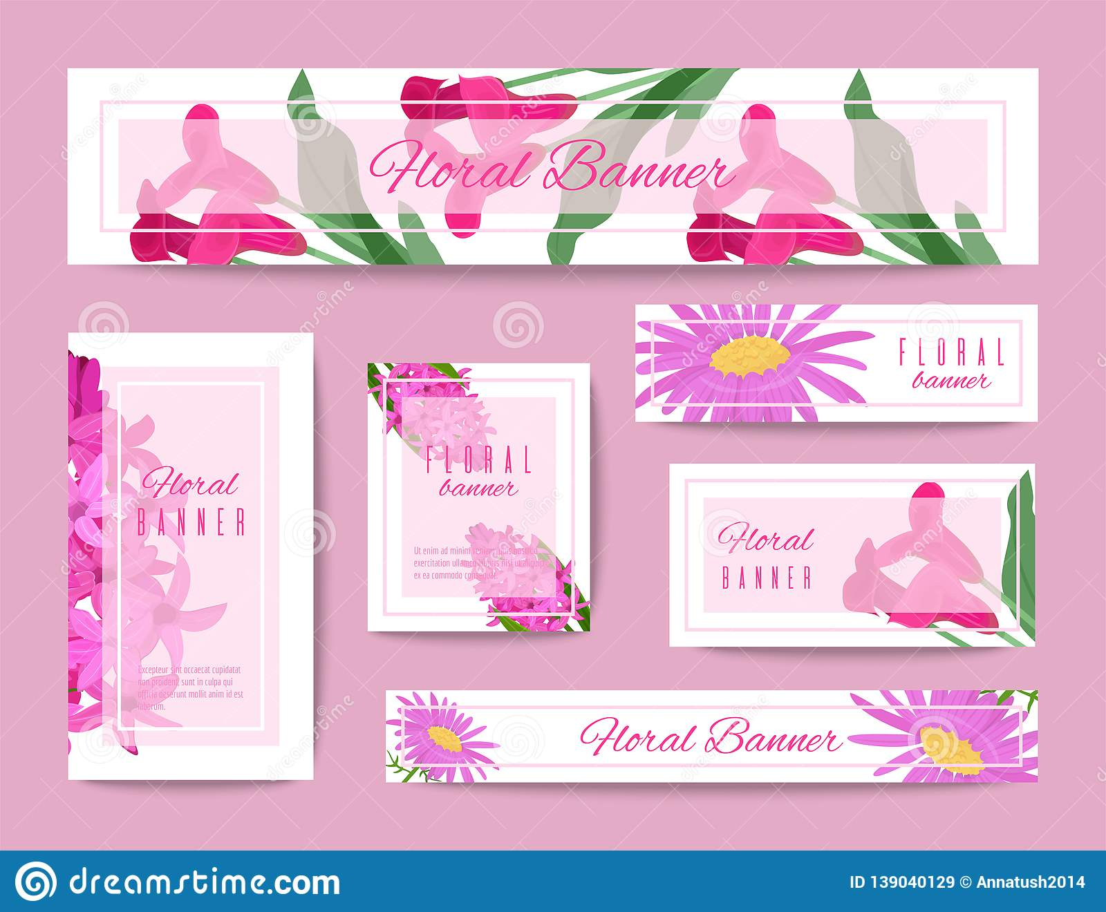 Floral set of banners for flower shops or invitation cards. Beautiful oriental floral pattern and delicate ornament