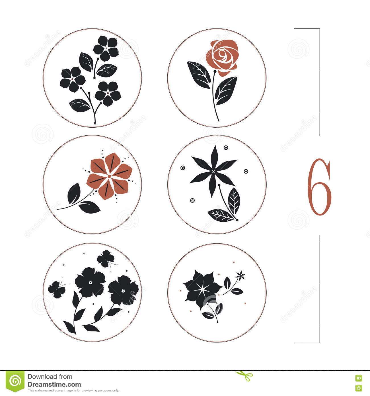 Floral set with flowers, leaves and butterflies silhouettes