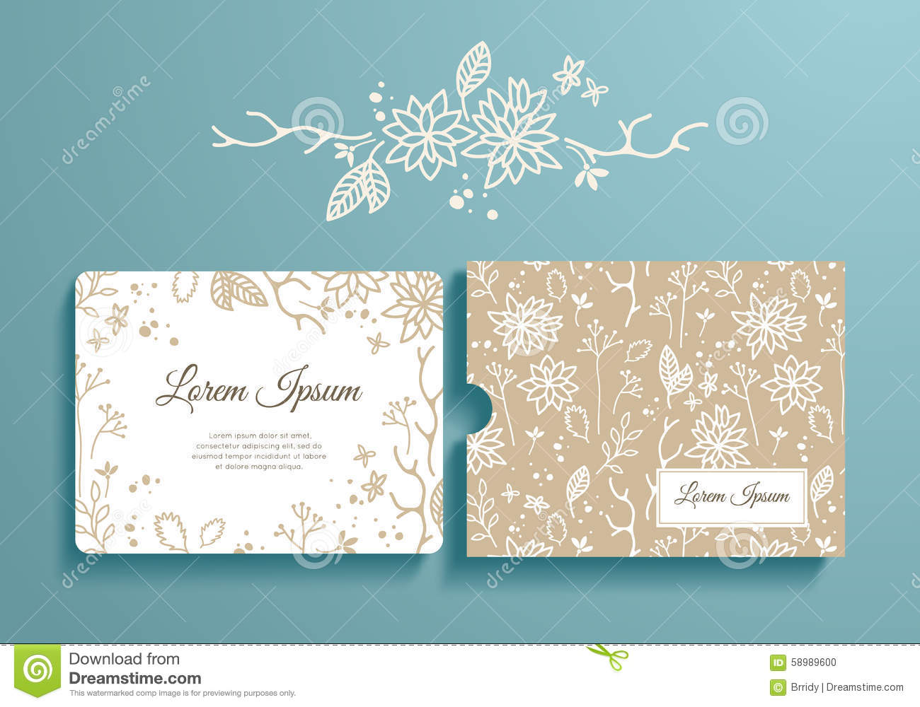 Floral Set Of Romantic Invitation And Envelope Stock Vector