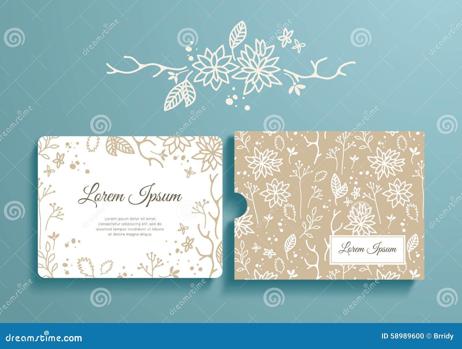 floral set of romantic invitation and envelope stock vector image 58989600. Black Bedroom Furniture Sets. Home Design Ideas