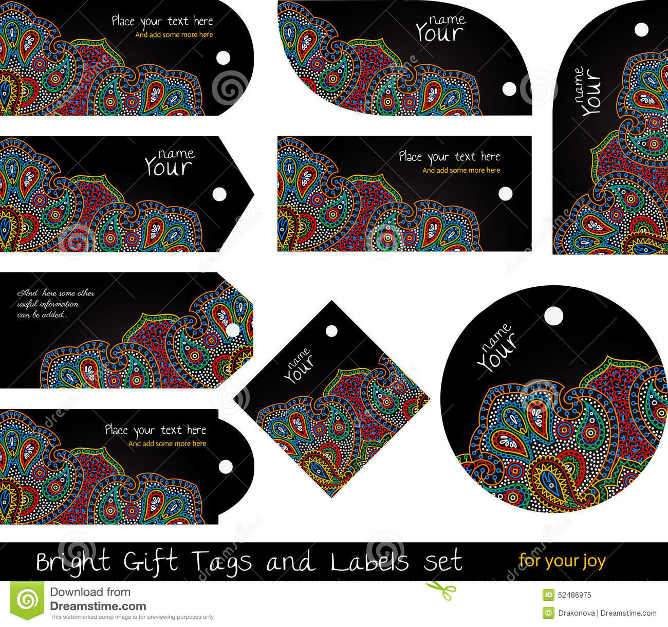 floral set of tags for gifts and goods stock vector illustration