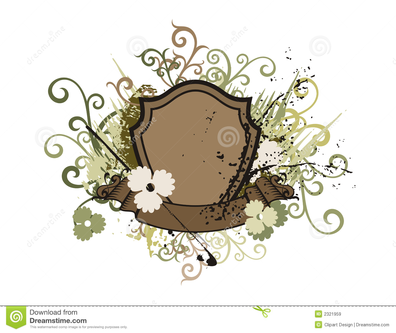 floral shield background stock vector illustration of insignia