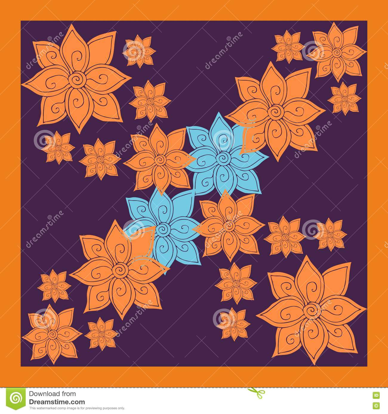 83d6491ad0bb1 Floral silk neck scarf or bandana print with bright orange and blue flowers