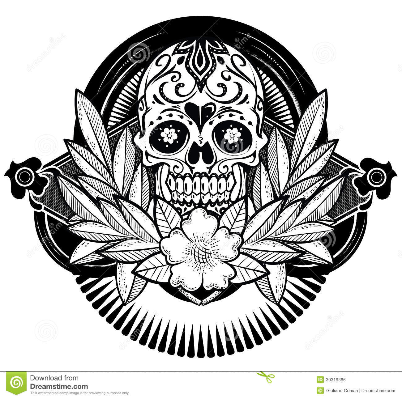 Floral Skull Stock Vector Image Of Illustration Dead