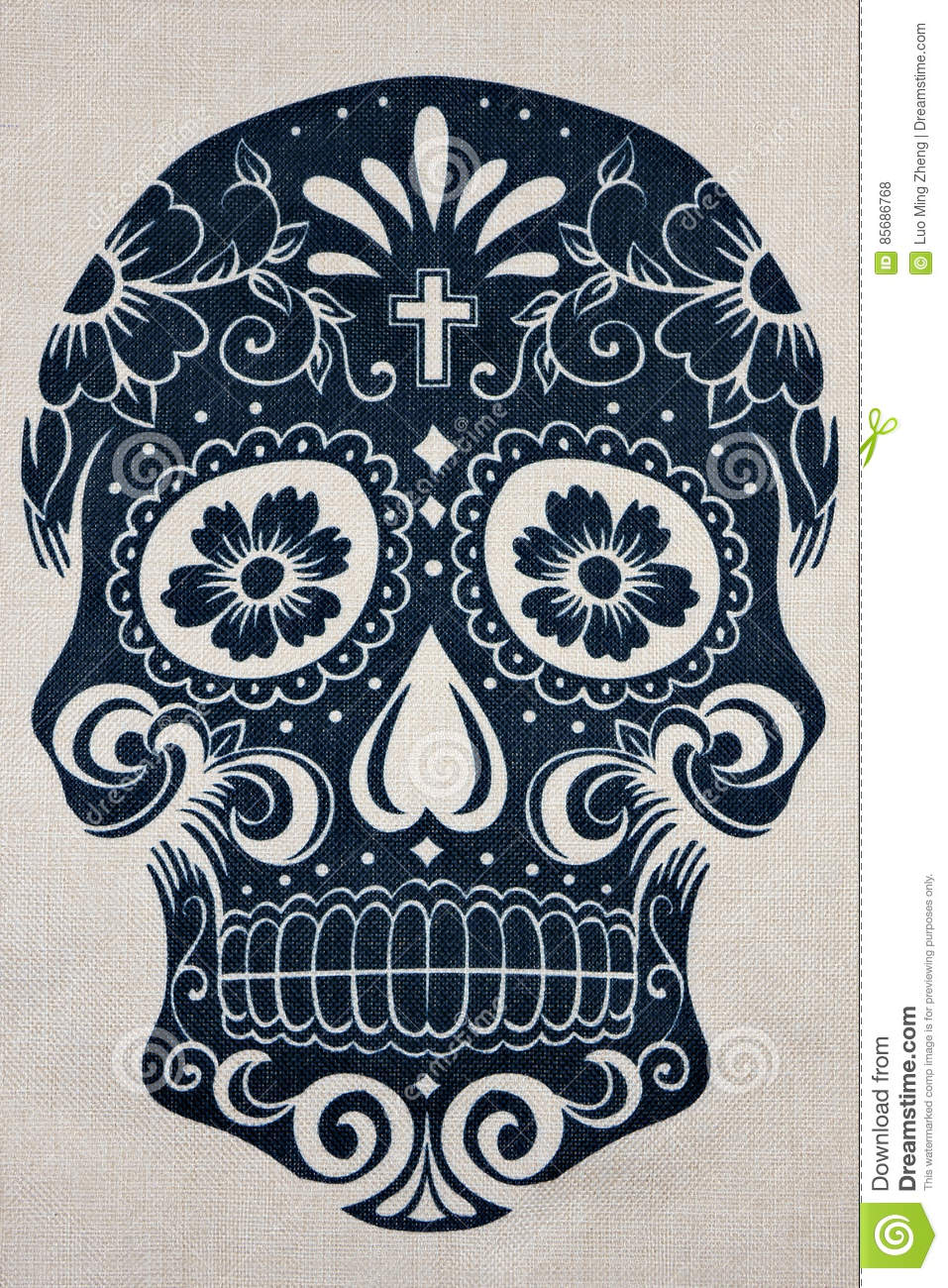 Floral skull fabric