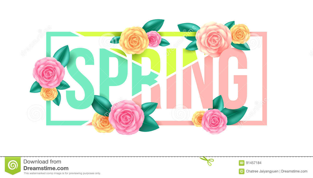 Floral Spring Graphic DesignSpring Letter With Flowers