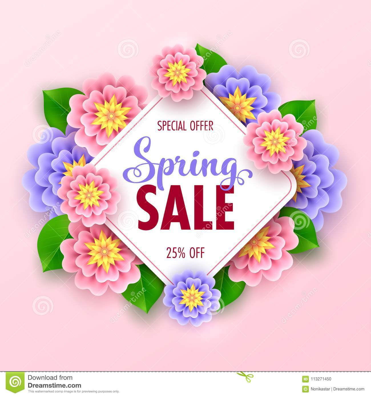 Floral spring sale banner stock vector illustration of frame floral spring sale banner with beautiful flowers for online shopping vector illustration izmirmasajfo
