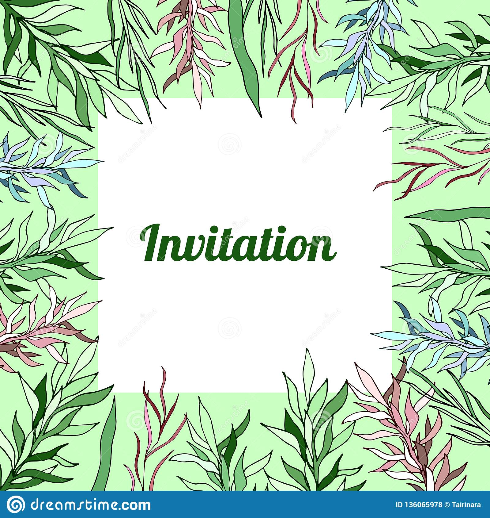 Floral Spring Templates Card Invitation Tender Botanical Stock