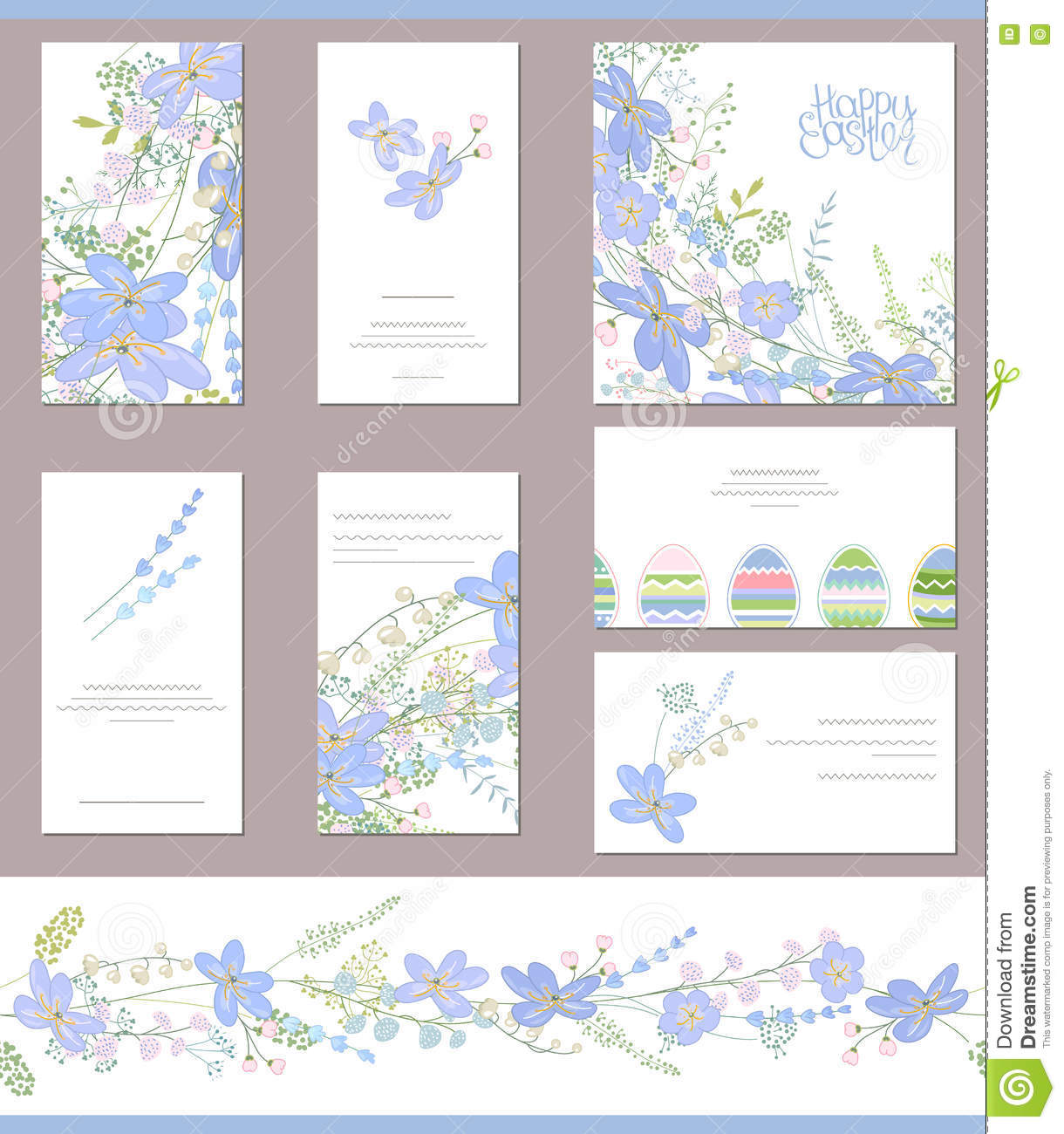 floral spring templates with cute blue flowers stock illustration