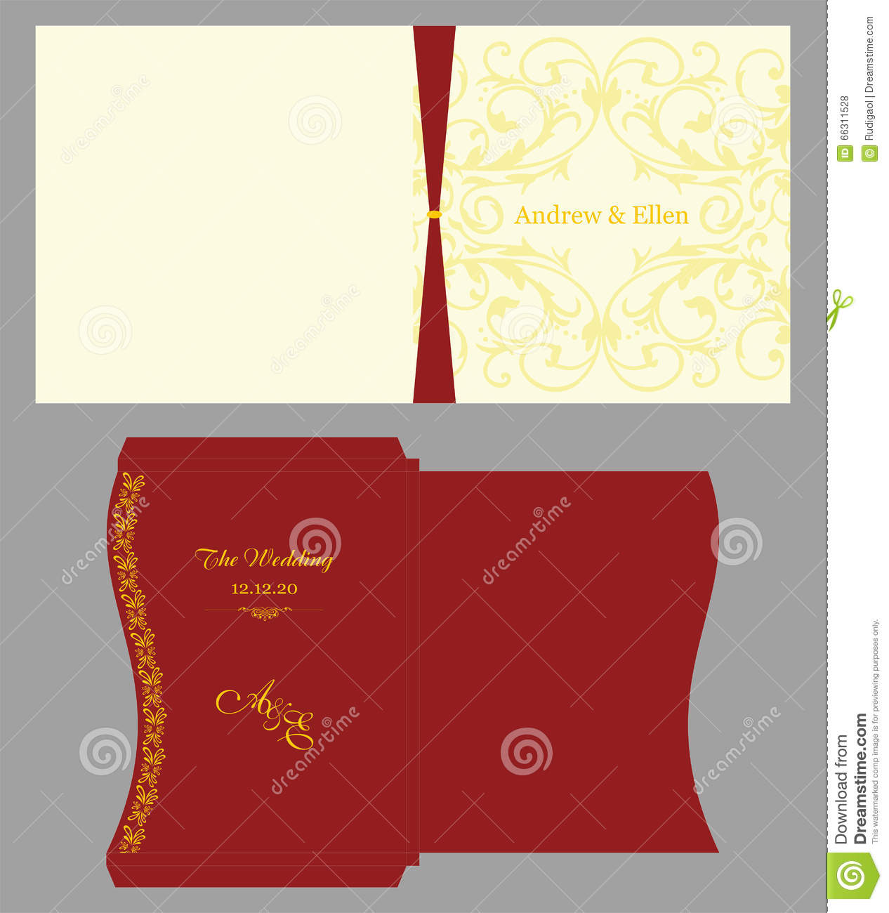 Floral Square Invitation With Envelope Stock Vector - Illustration ...