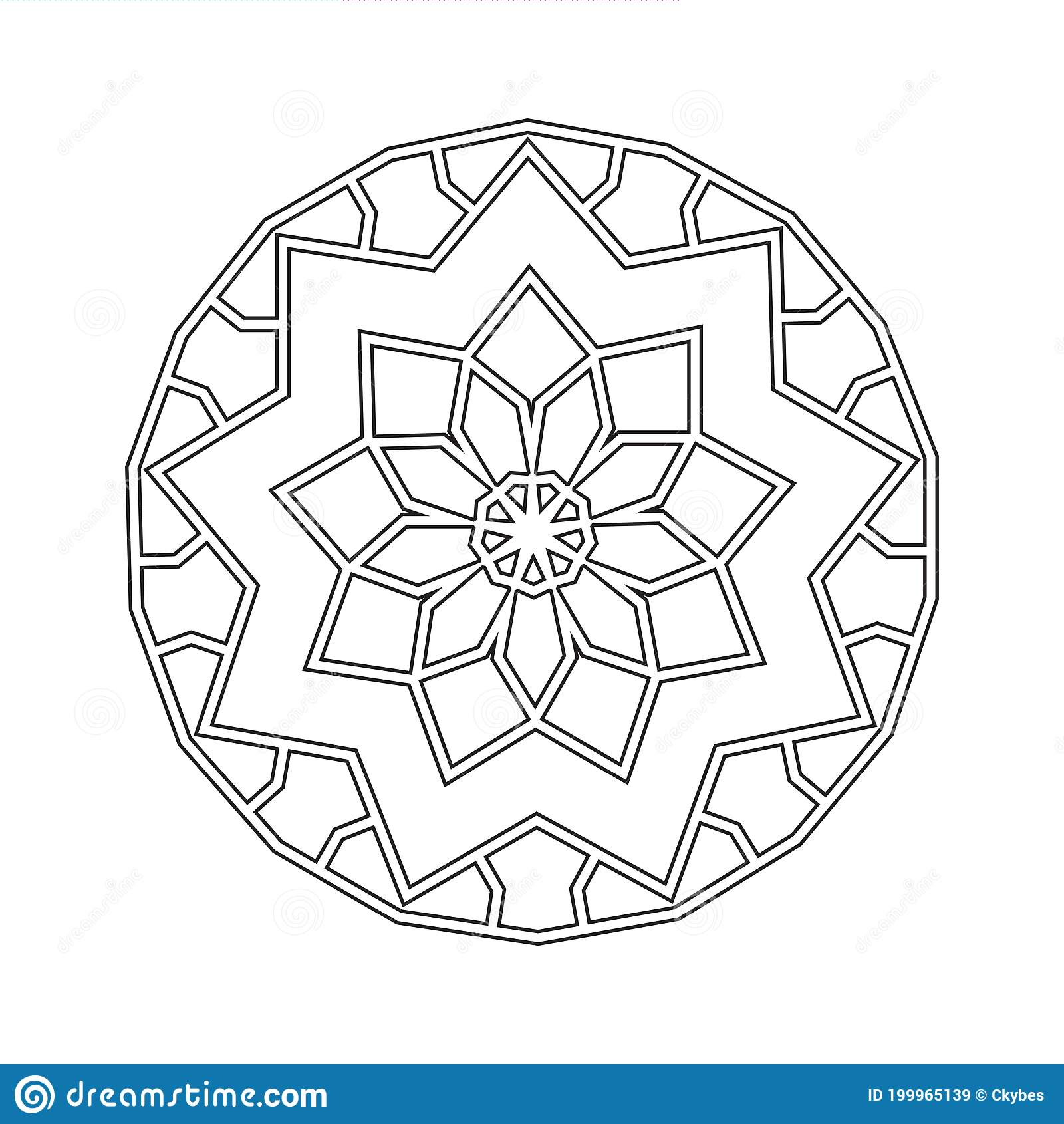 Floral Straight Lined Mandala Trendy Tattoo Template Coloring Pages Stock Vector Illustration Of Sections Tattoo 199965139