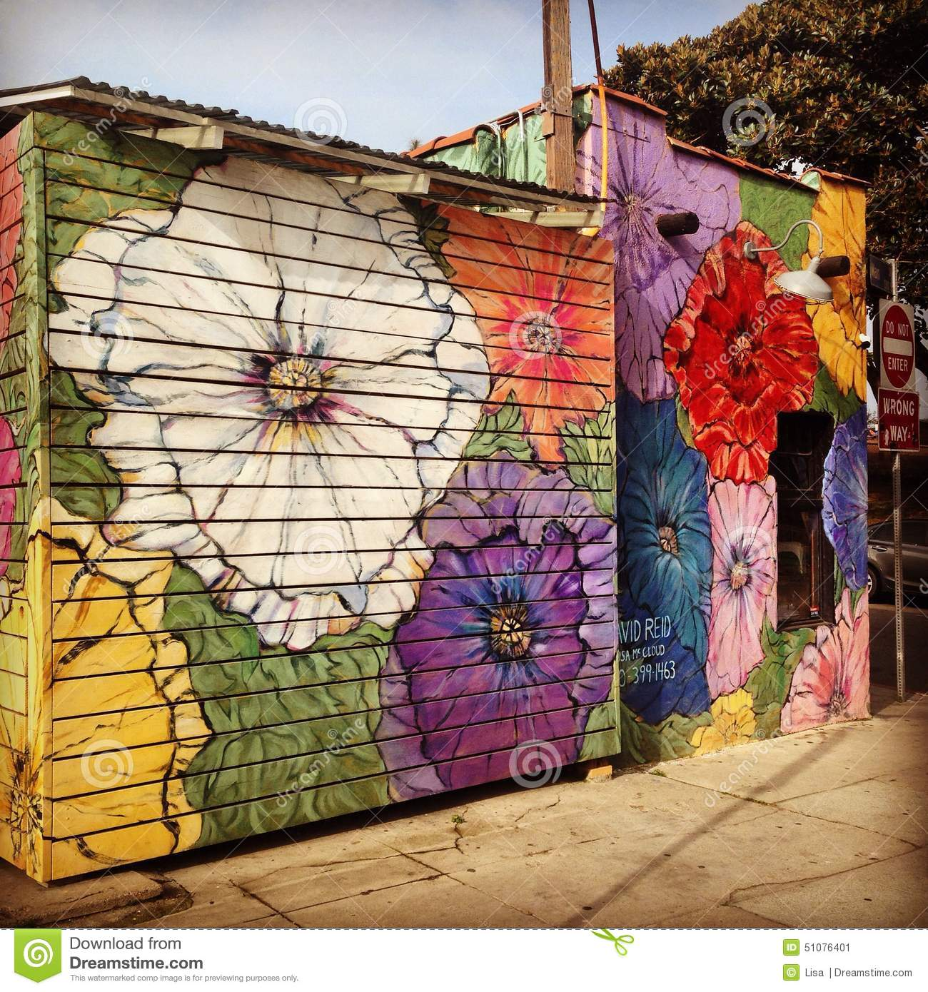 Floral street art decorating a venice beach business for Building wall mural