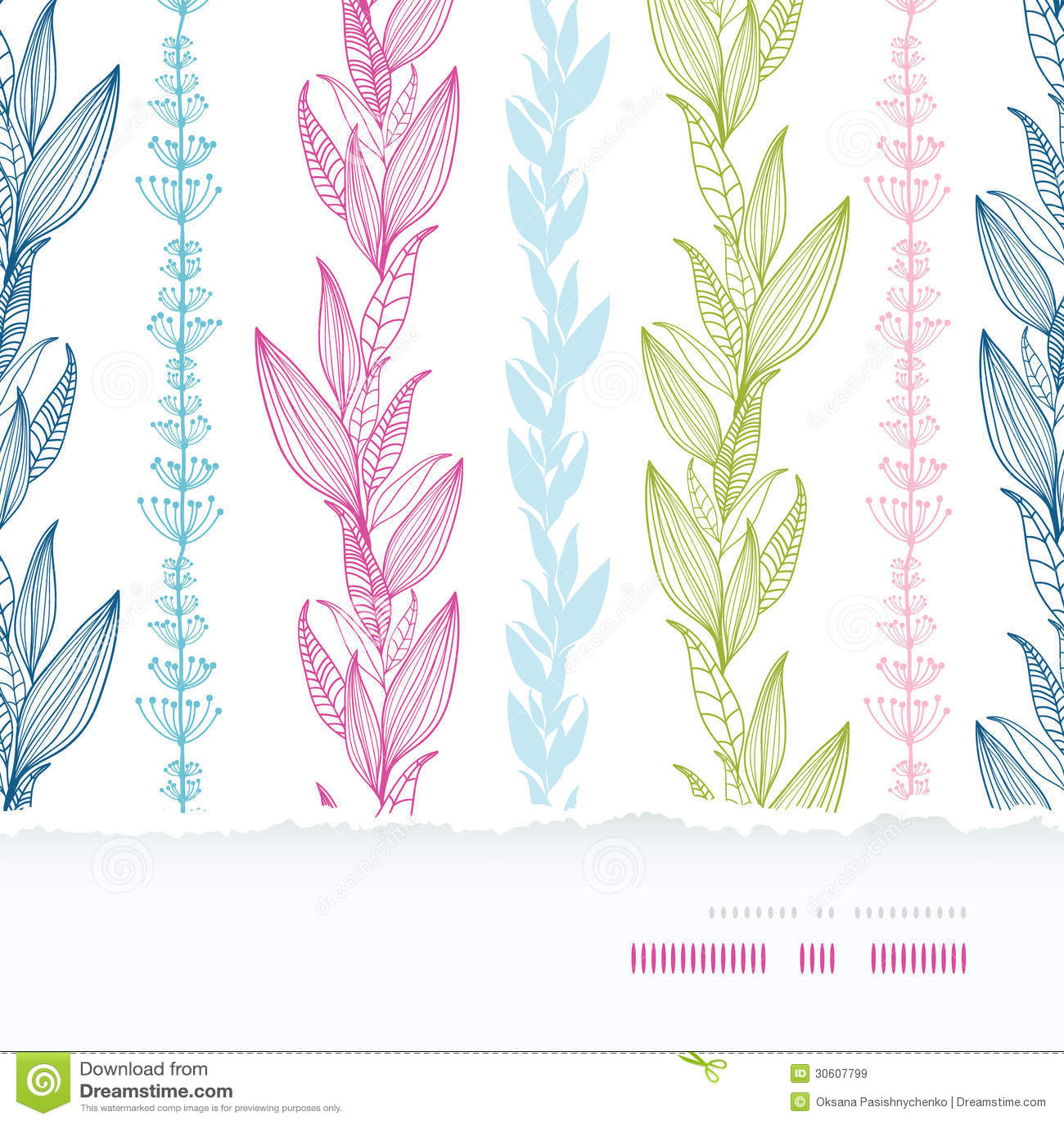 Vertical Line Art : Floral stripes vertical horizontal torn seamless stock