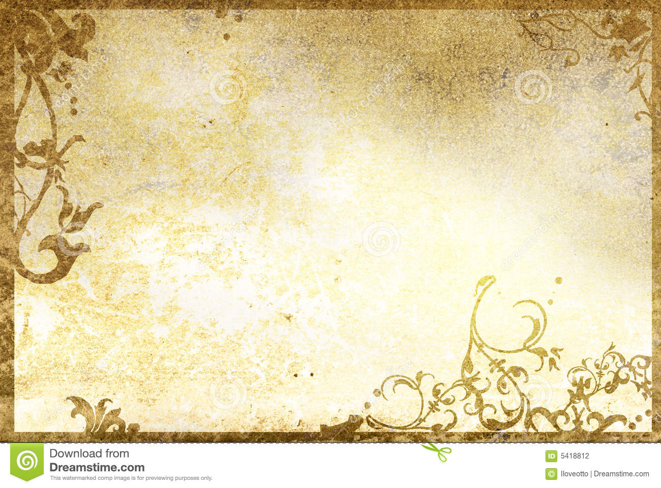 Floral Style Old Paper Textures Frame Stock Image - Image: 5839891