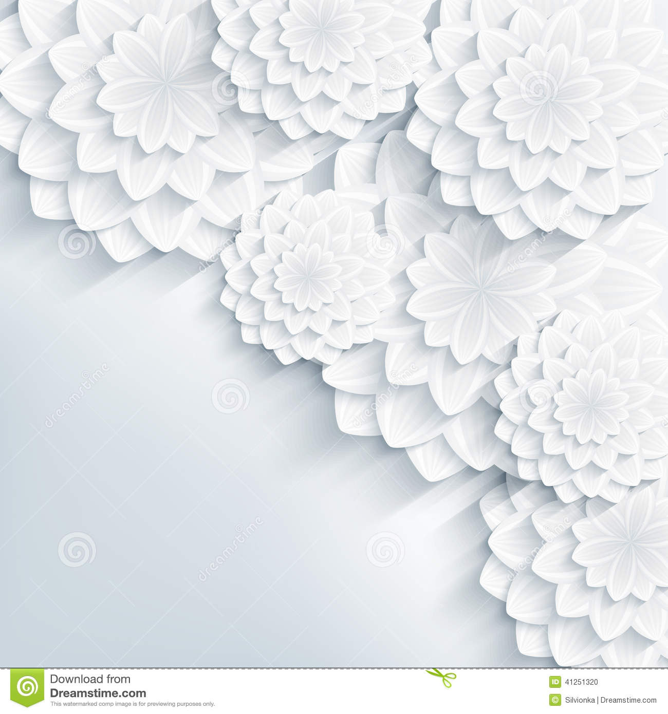 Floral stylish gray background with 3d flowers stock for 3d white flower wallpaper