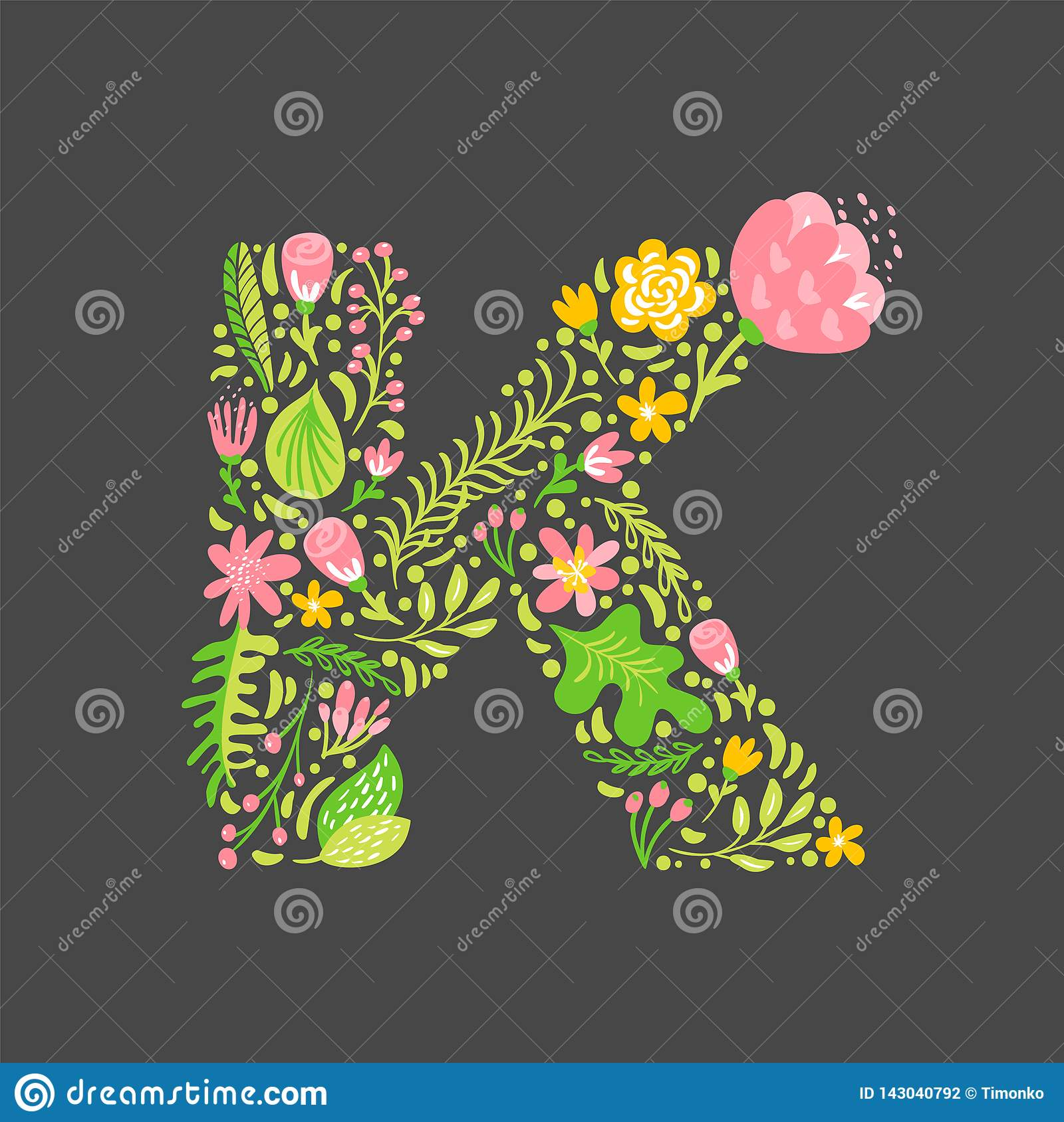 Floral Summer Letter K  Flower Capital Wedding Uppercase