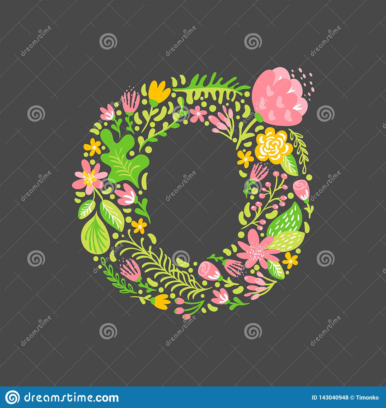 Floral Summer Letter O  Flower Capital Wedding Uppercase