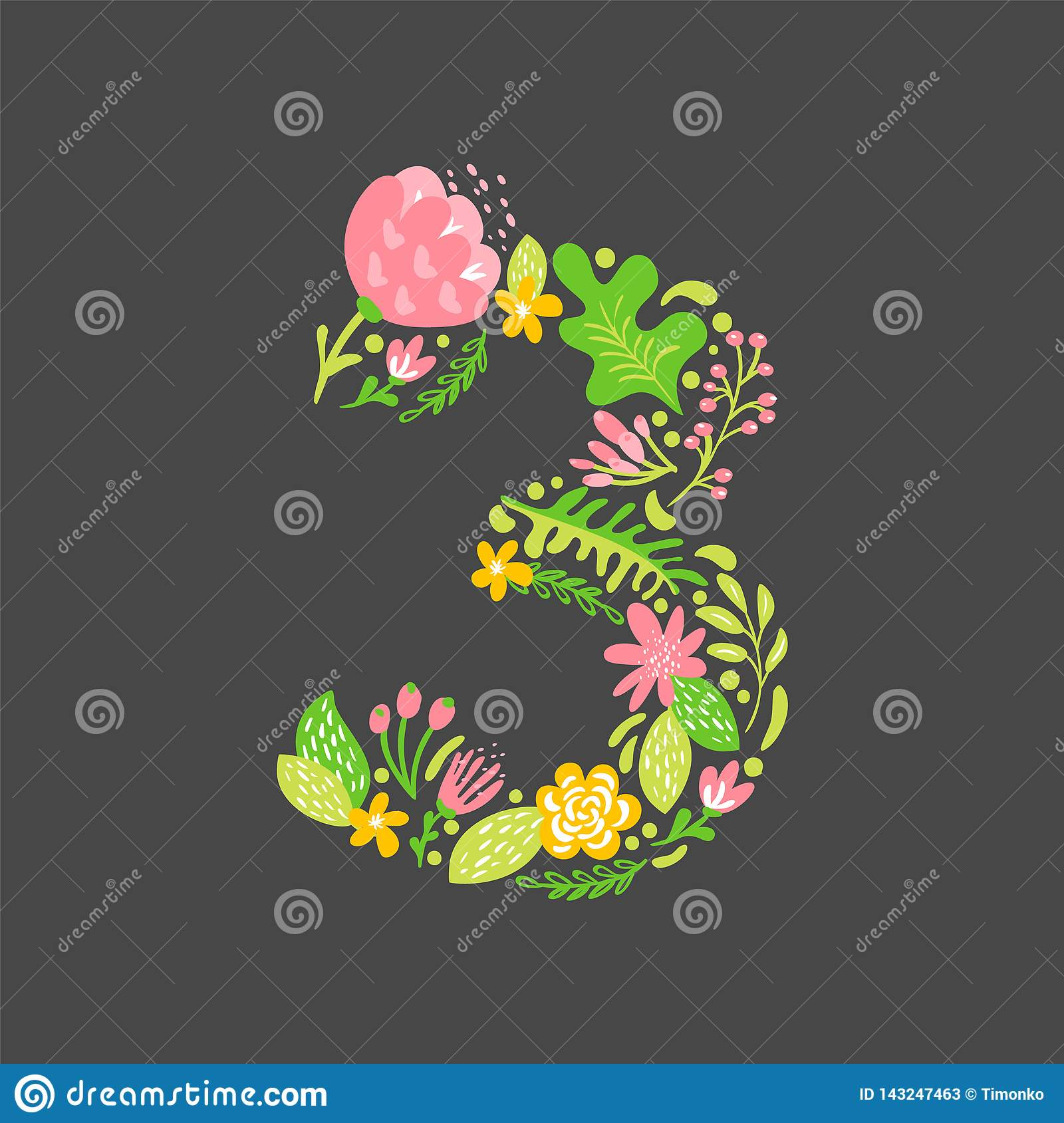 Floral Summer Number 3 Three  Flower Capital Wedding Uppercase Alphabet  Colorful Font With