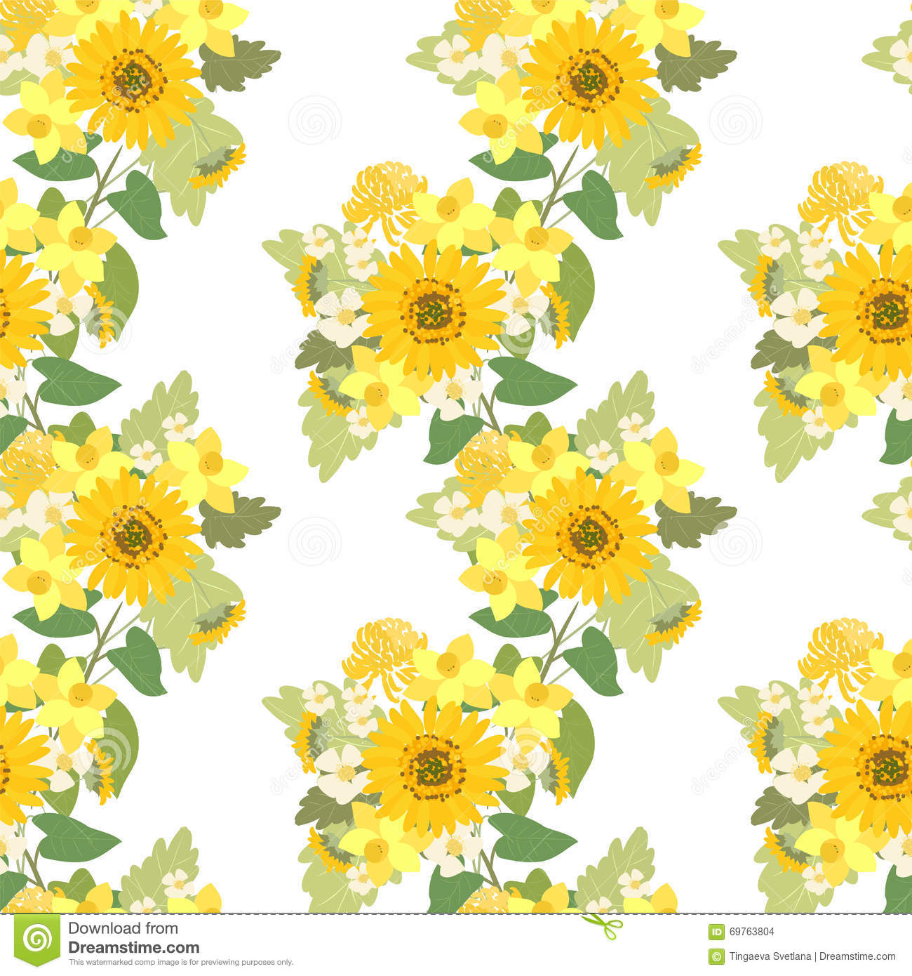 Floral Sunflower Narcissus Strawberry Flowers Retro Vintage Background