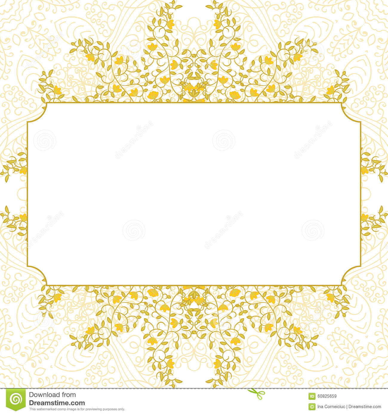 Floral Swirl Card Template Design Stock Vector