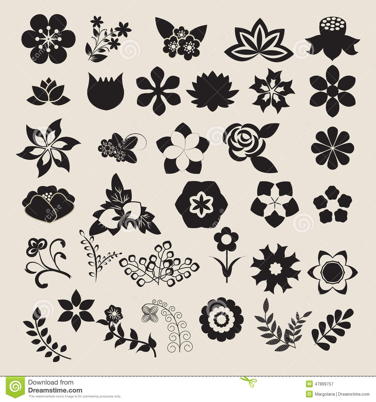 Floral Symbols Icon Set Vector Flower Set Stock Vector Image